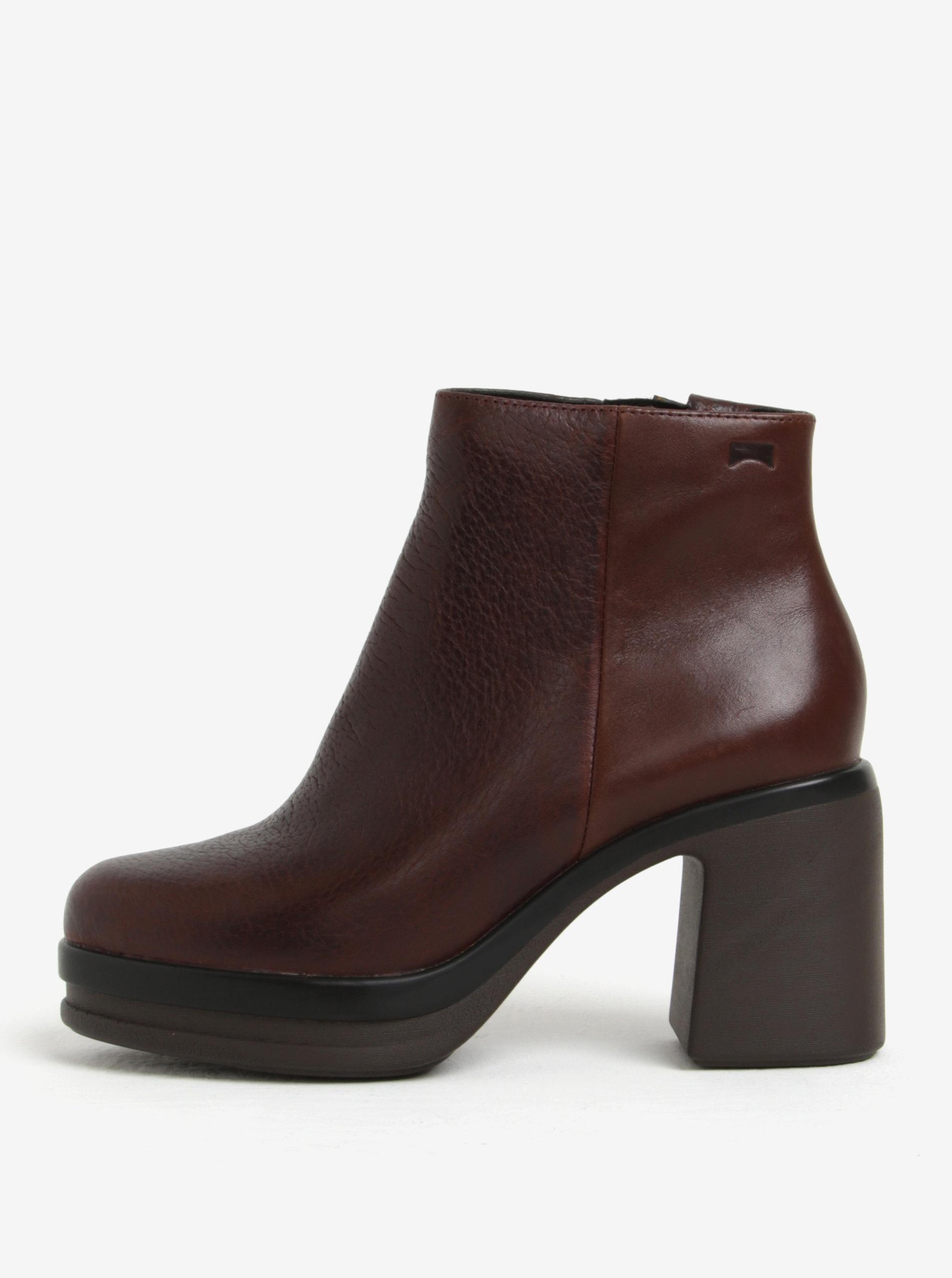 Hnědé dámské kotníkové kožené boty na podpatku Camper Cigar ... ea4ea9f943