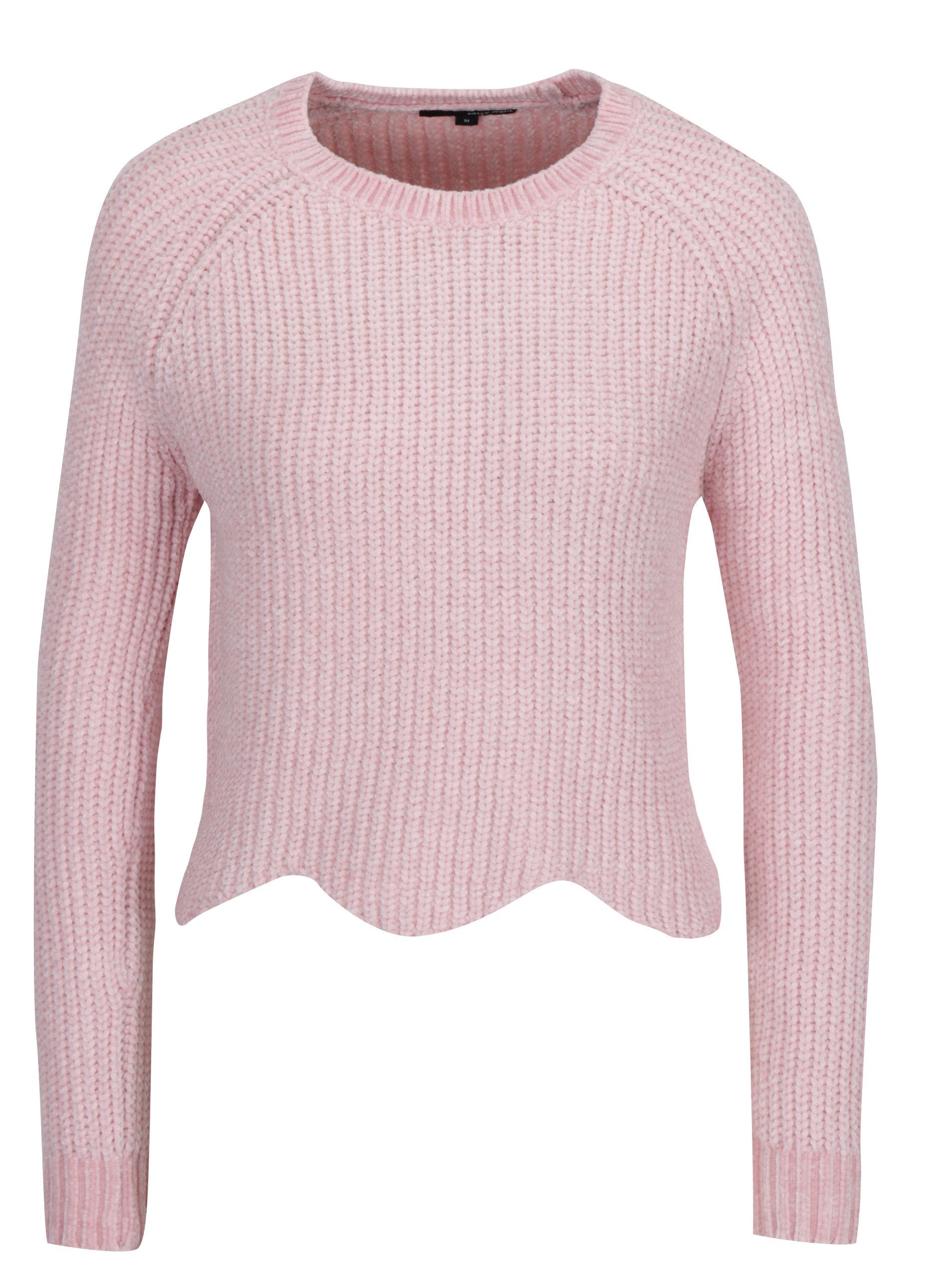 4ab83cce6391 Světle růžový krátký svetr s tvarovaným lemem TALLY WEiJL ...