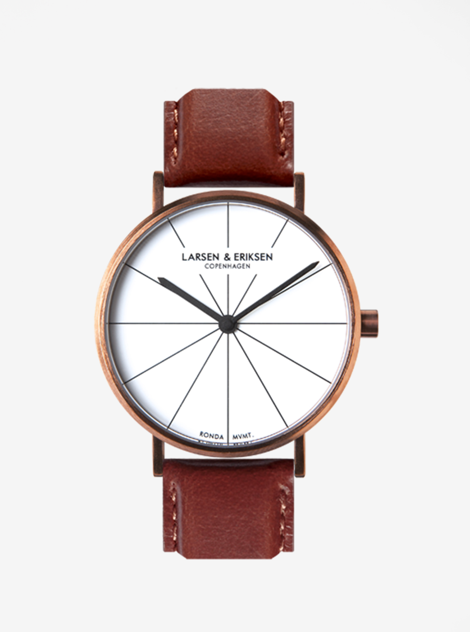 Unisex hodinky v medenej farbe s hnedým koženým remienkom LARSEN   ERIKSEN  37 mm ... 6355dafa95c