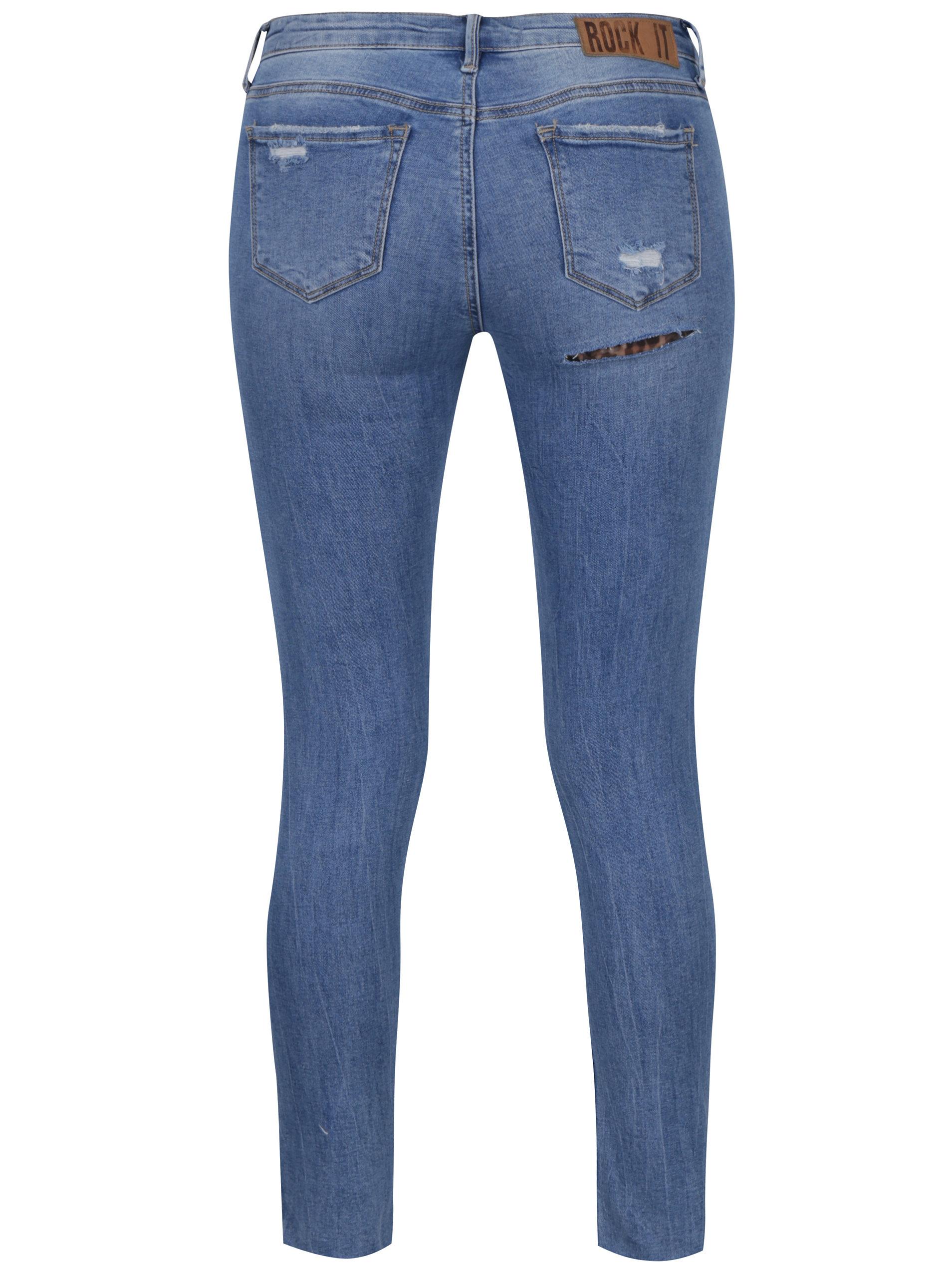 acb23a01bcb Modré zkrácené skinny džíny s nízkým pasem a potrhaným efektem TALLY WEiJL  ...