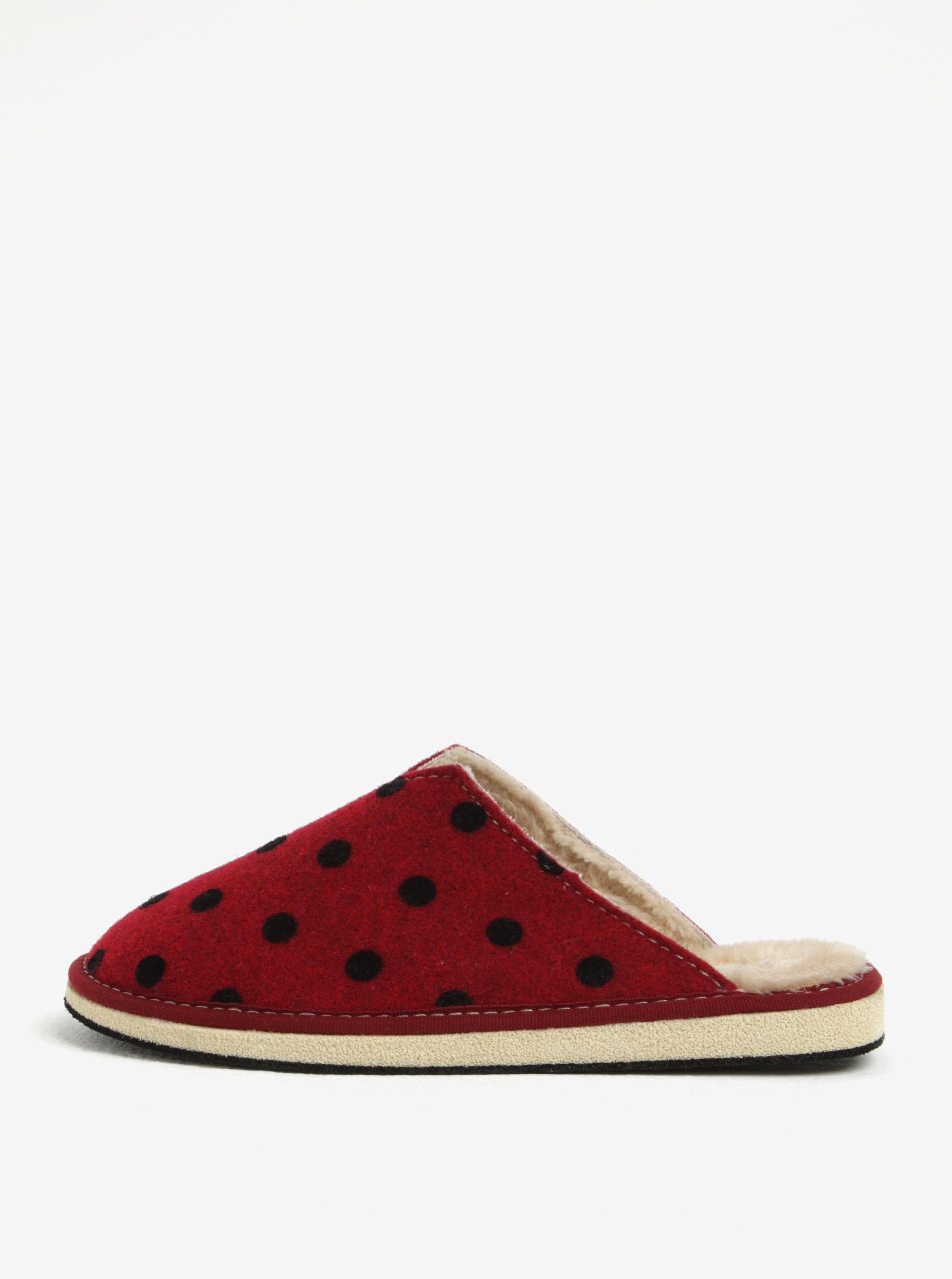 767eead02950 Červené bodkované papuče OJJU ...