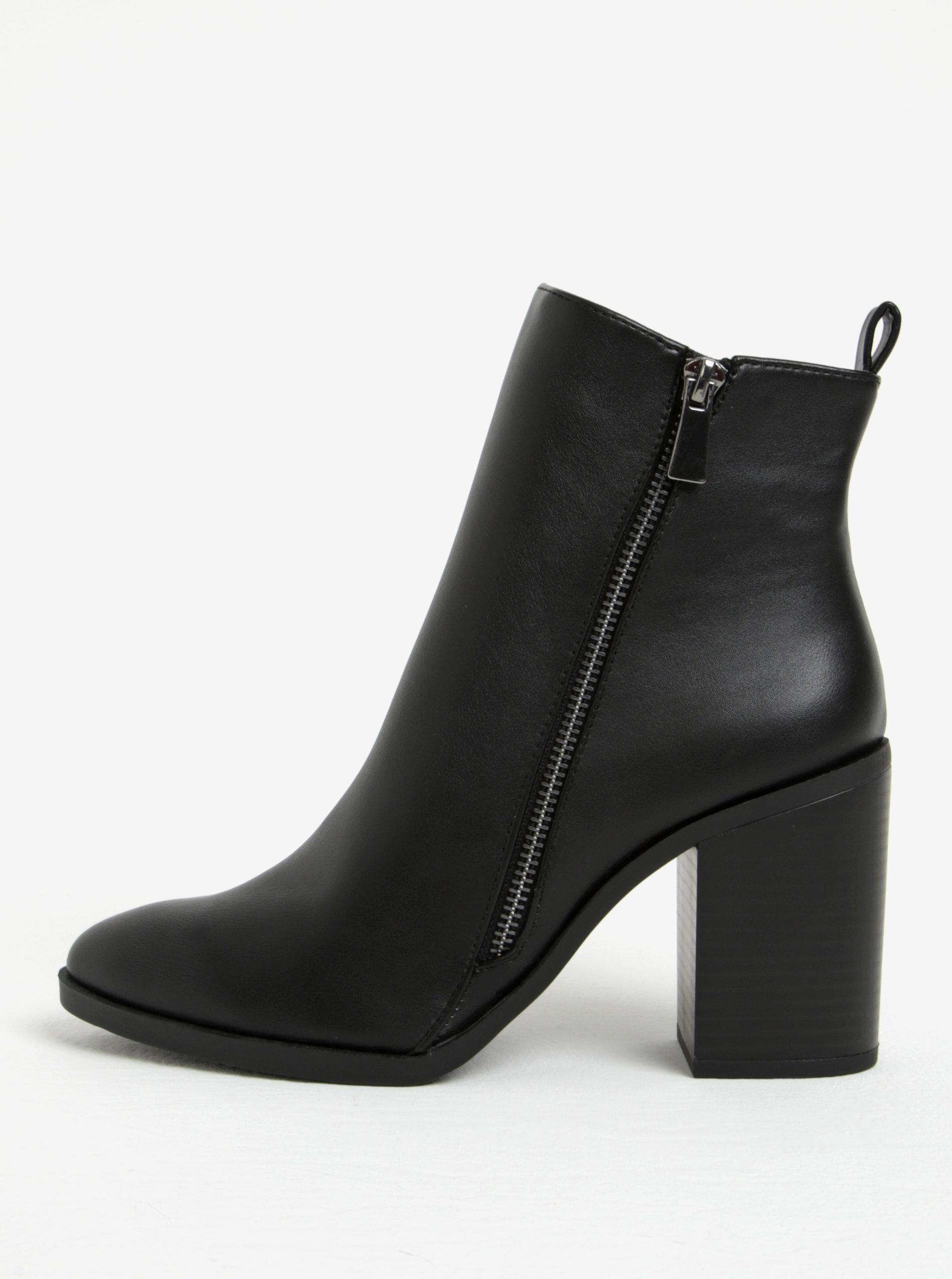 Černé kotníkové boty na širokém podpatku Dorothy Perkins ... 0f2f57c952