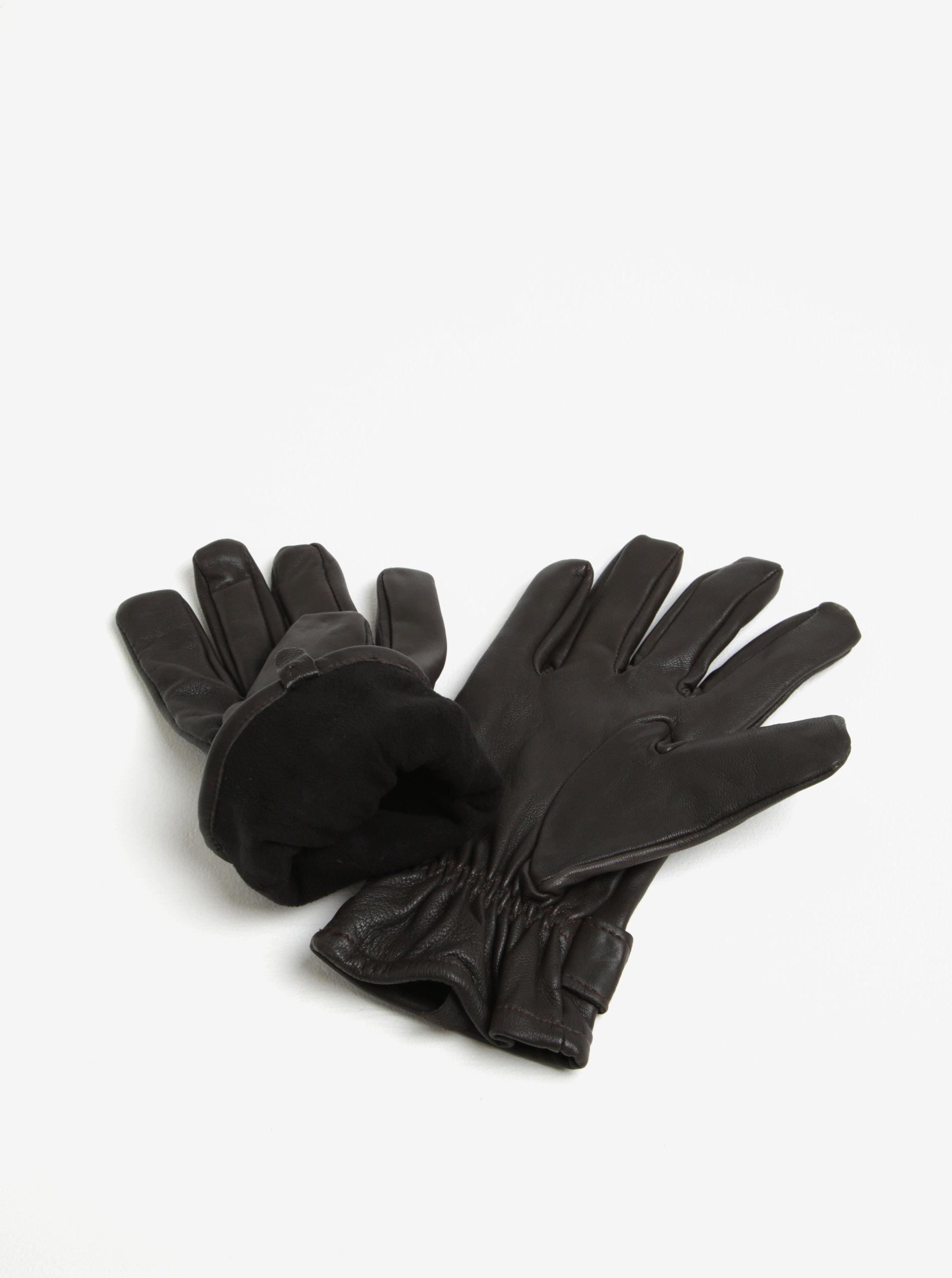 Hnědé kožené rukavice Lindbergh ... 8397dc25b1