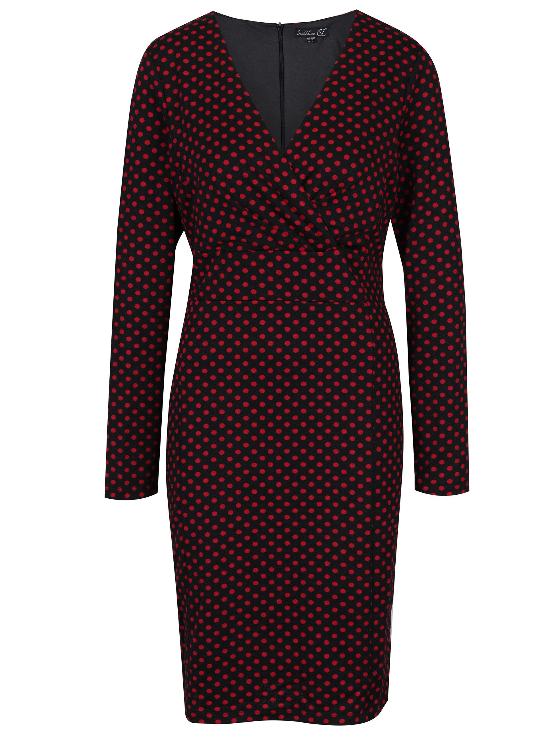 7ccda5172b6e Čierne bodkované šaty s prekladaným výstrihom Smashed Lemon ...