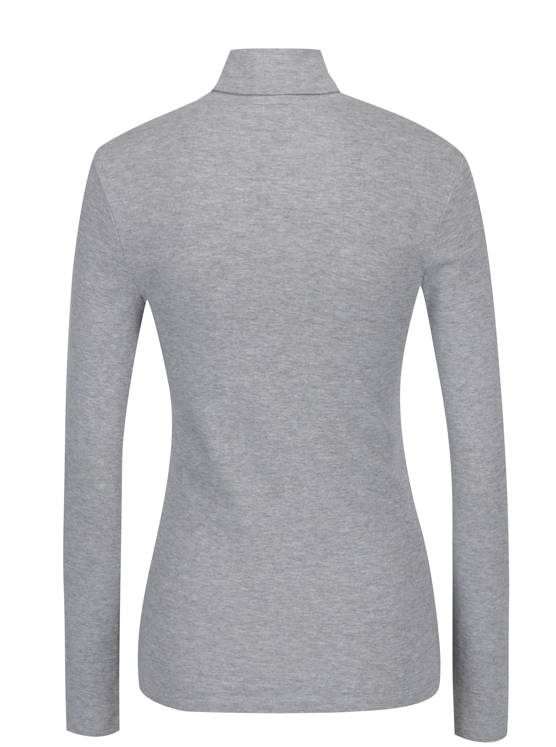 Šedé dámské tričko s rolákem a dlouhým rukávem s.Oliver  6a55e4fad1