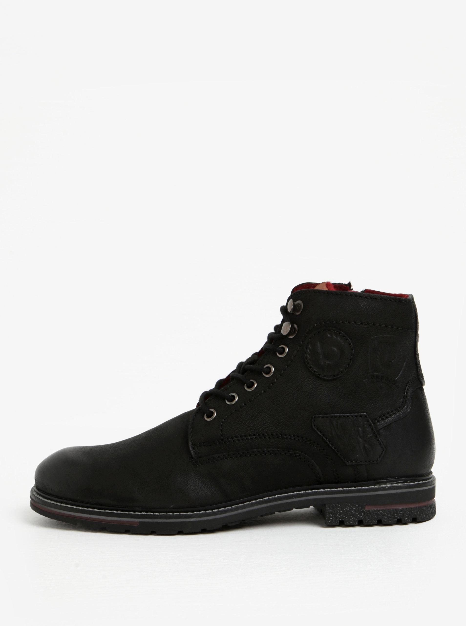 6eb690c3475 Černé pánské kožené kotníkové zimní boty bugatti Ringo ...