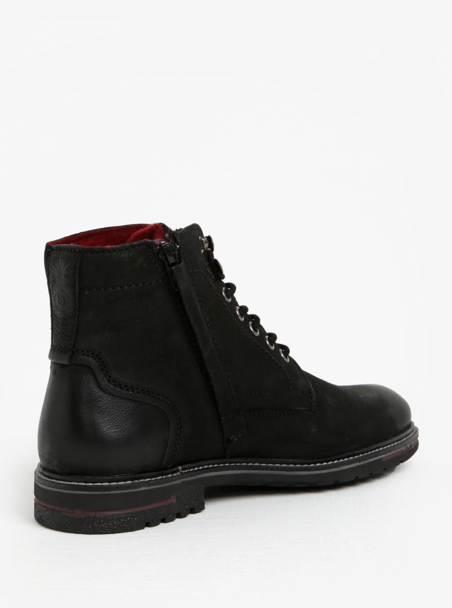 Černé pánské kožené kotníkové zimní boty bugatti Ringo - SLEVA ... 27bfca7283