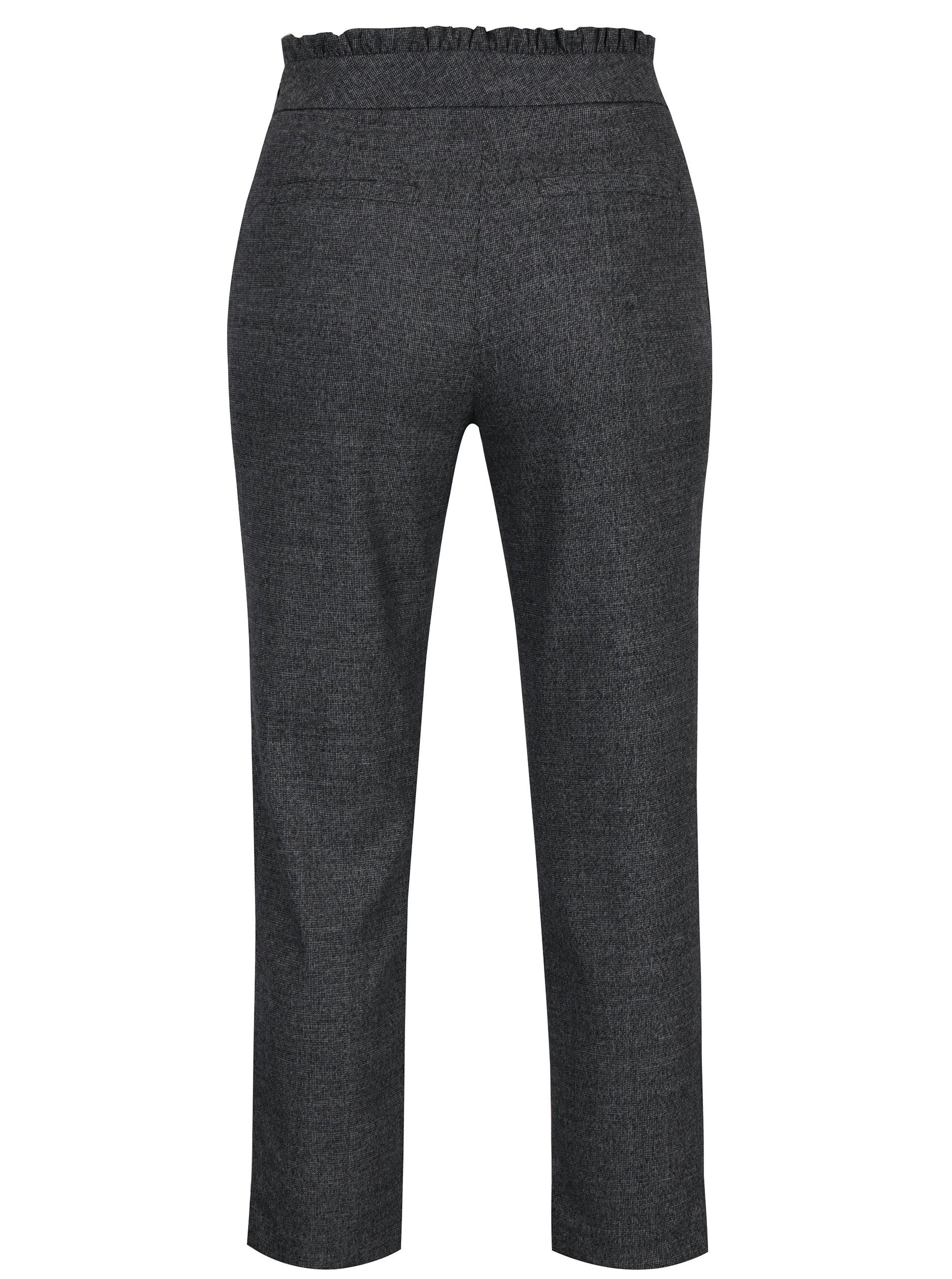 8def042768e3 Tmavosivé melírované nohavice s mašľou a vysokým pásom ONLY Margo ...