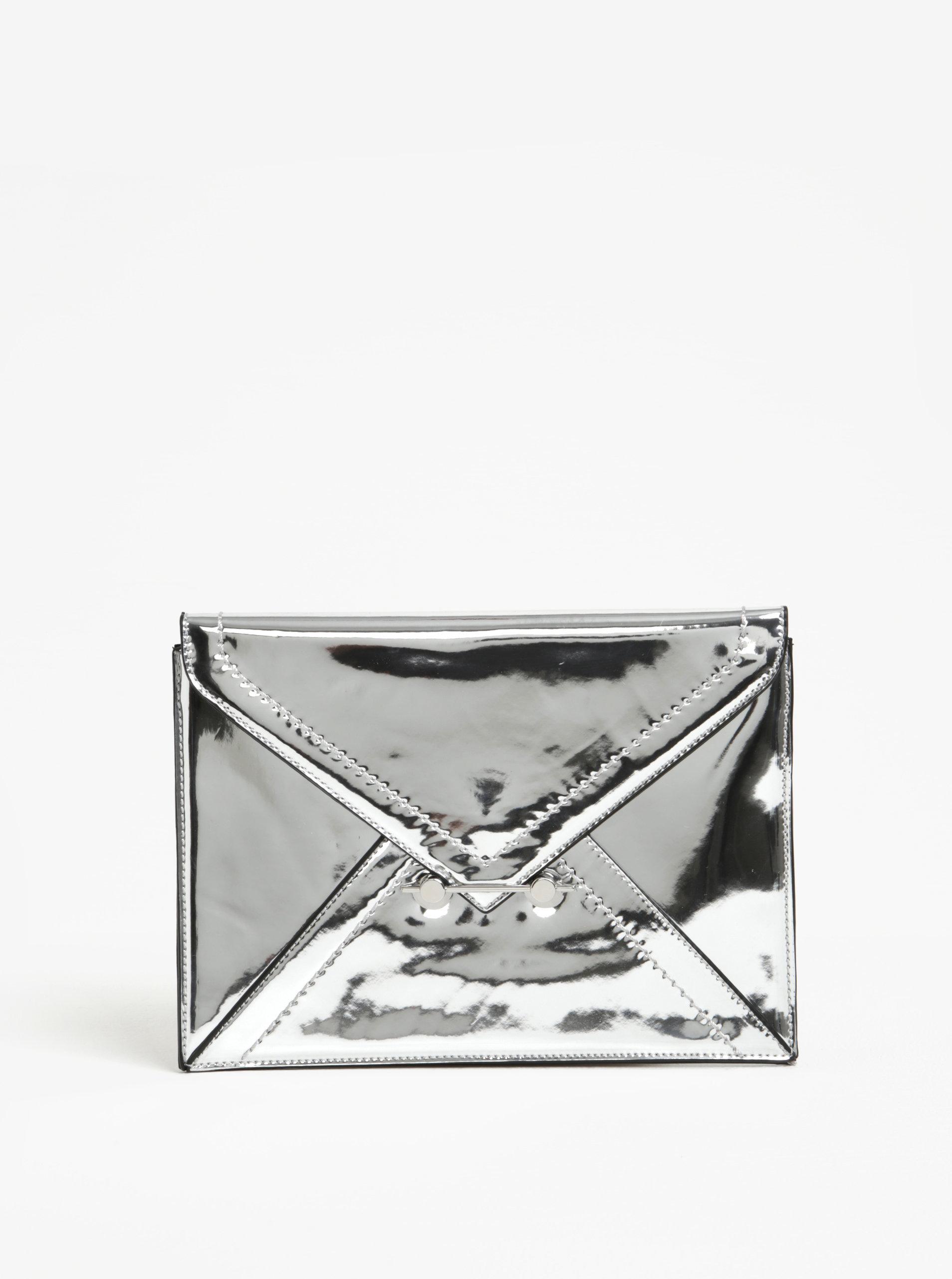 Listová kabelka v striebornej farbe Miss Selfridge ... 0e7e6b15ab2