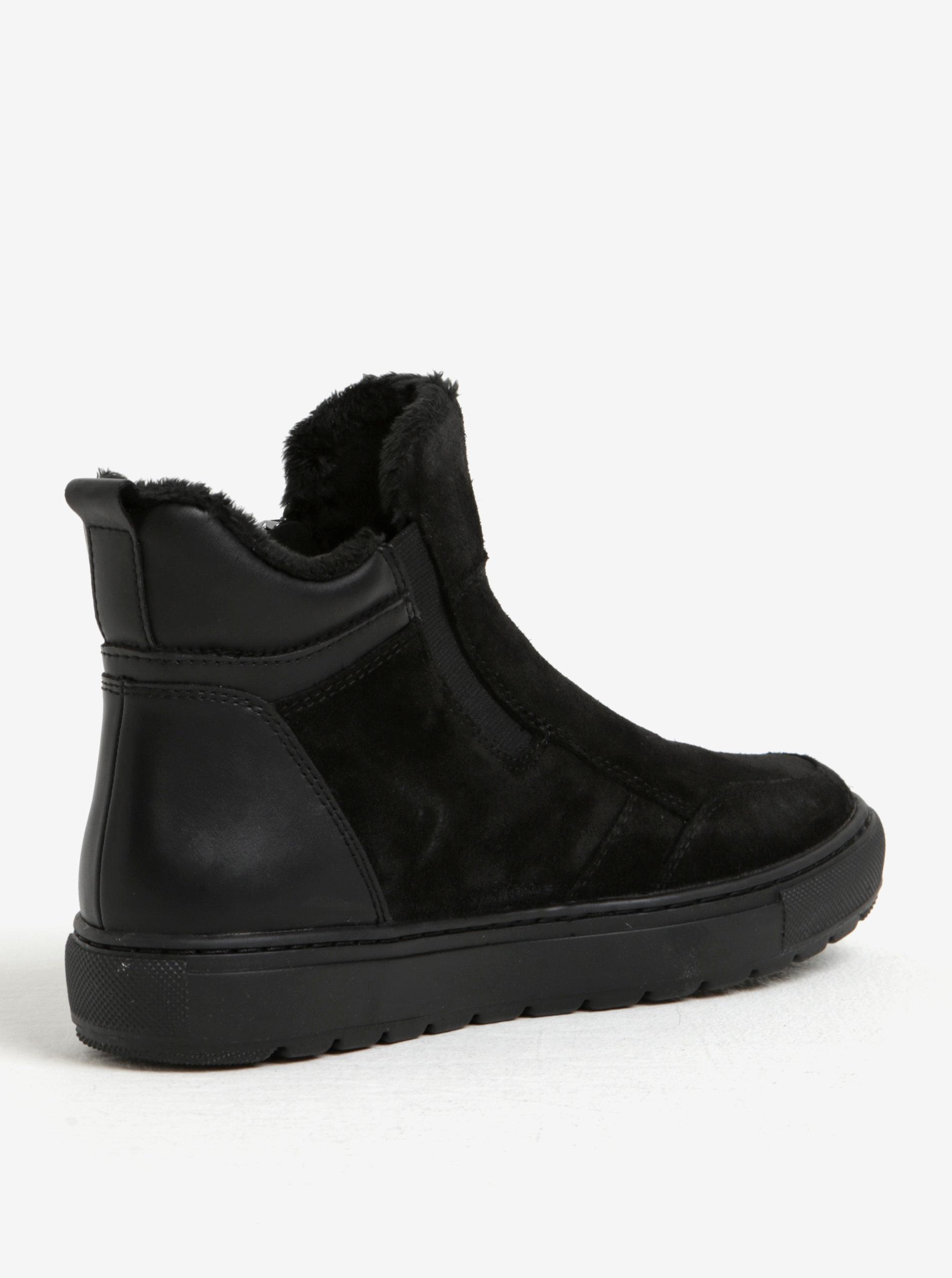 2f7f10973a2 Černé dámské zimní semišové kotníkové boty Geox Breeda ...