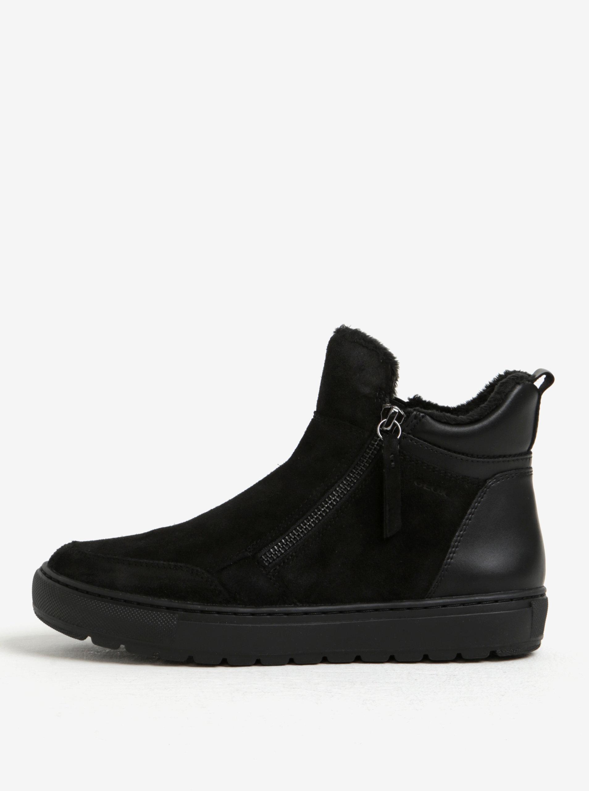 Černé dámské zimní semišové kotníkové boty Geox Breeda ... 8c337d2d15
