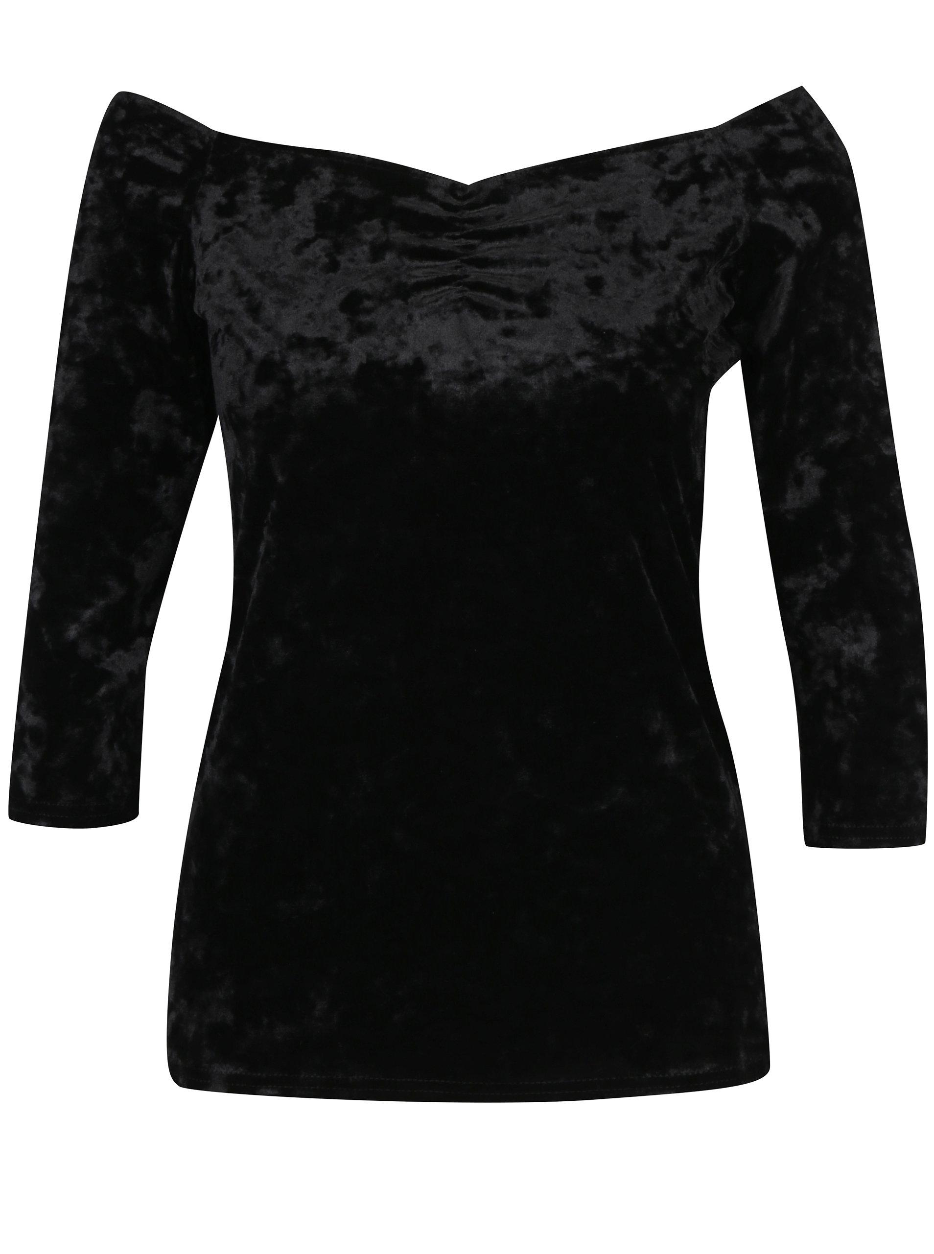 f75aa0a9228b Čierne zamatové tričko s lodičkovým výstrihom Dorothy Perkins ...