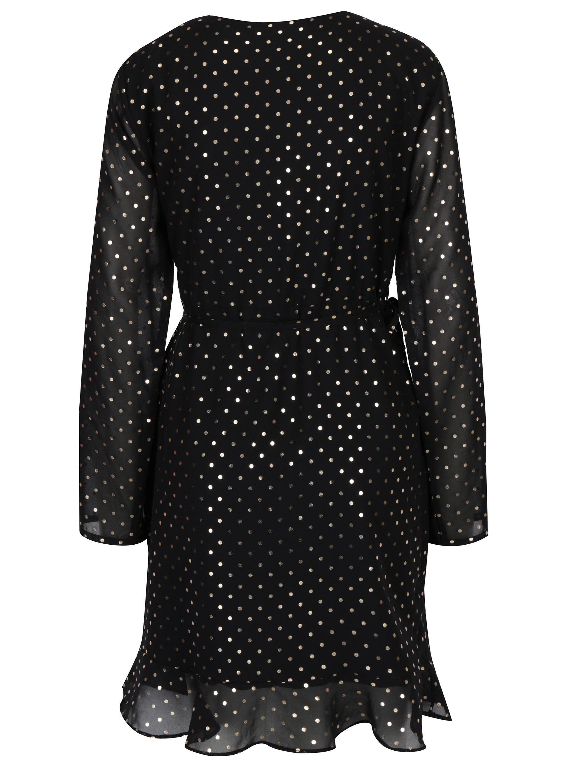 407e9f5ac4a Černé zavinovací šaty s puntíky VILA Goldina ...