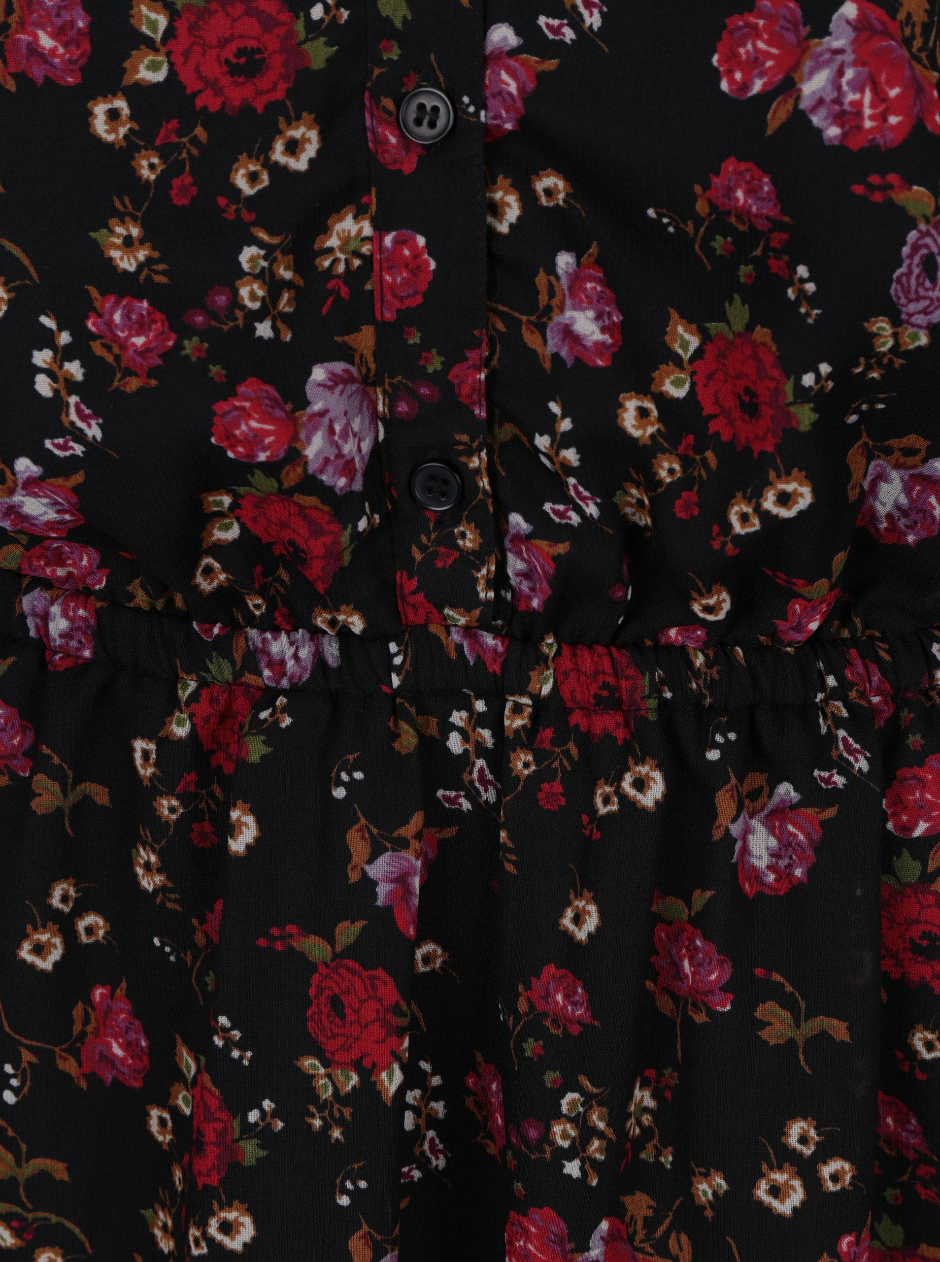 c549424b51e1 Červeno–čierne kvetované šaty s priesvitnými rukávmi VERO MODA Rose ...