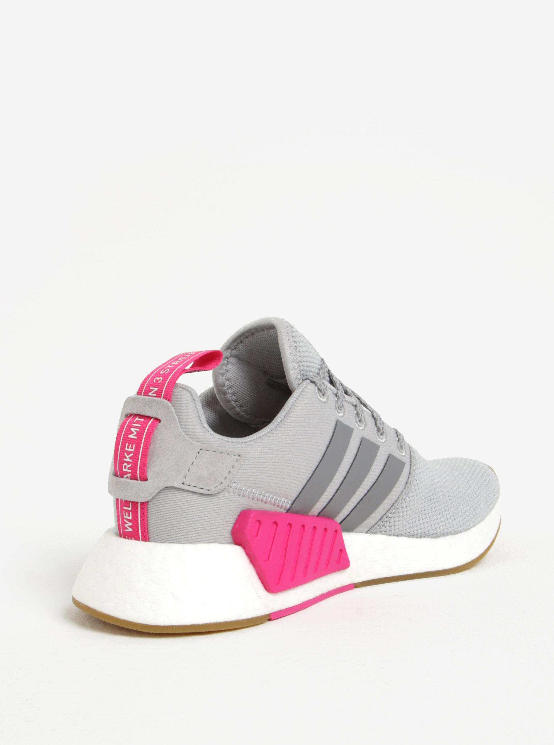 c2c78b5e6dd ... Světle šedé dámské tenisky se semišovými detaily adidas Originals NMD  R2 ...