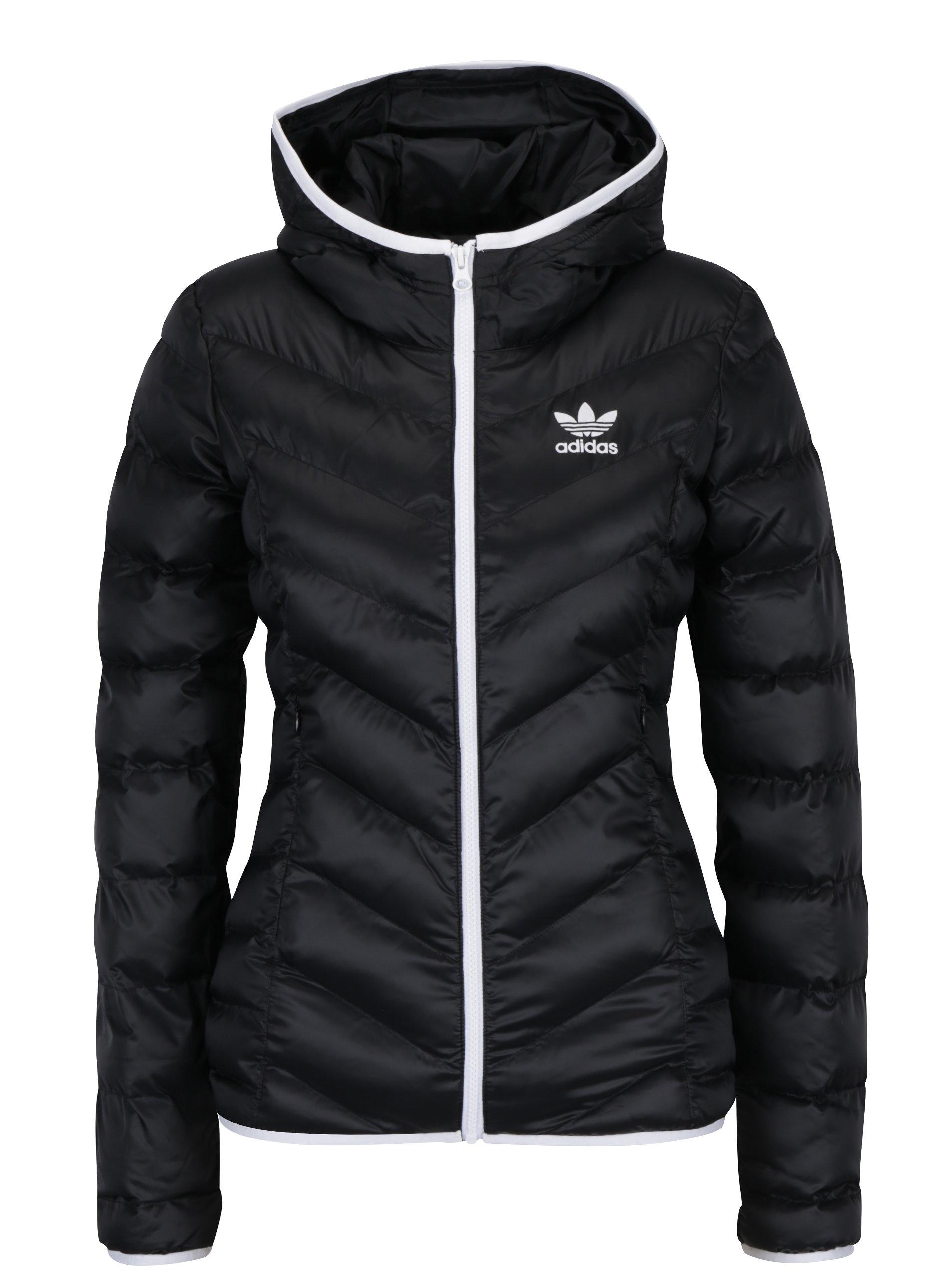 Čierna dámska prešívaná bunda s kapucňou adidas Originals Slim ... a361ad1a832