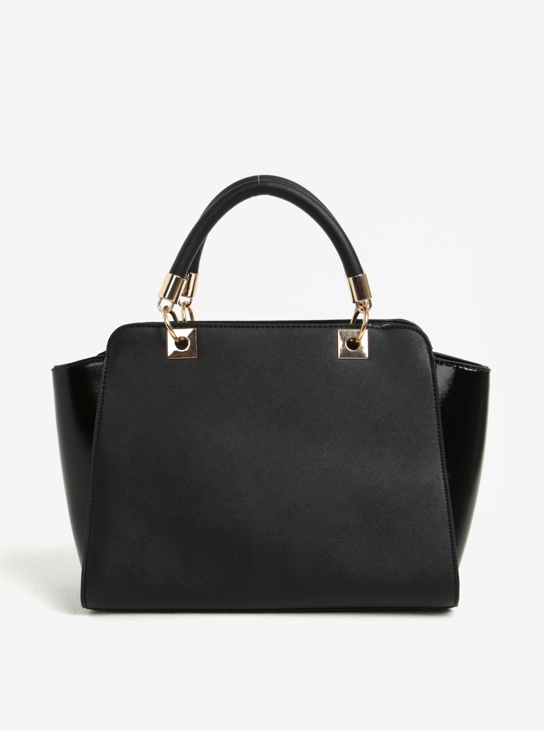 Čierna kabelka do ruky s lesklými bokmi Juno ... ea2158f158