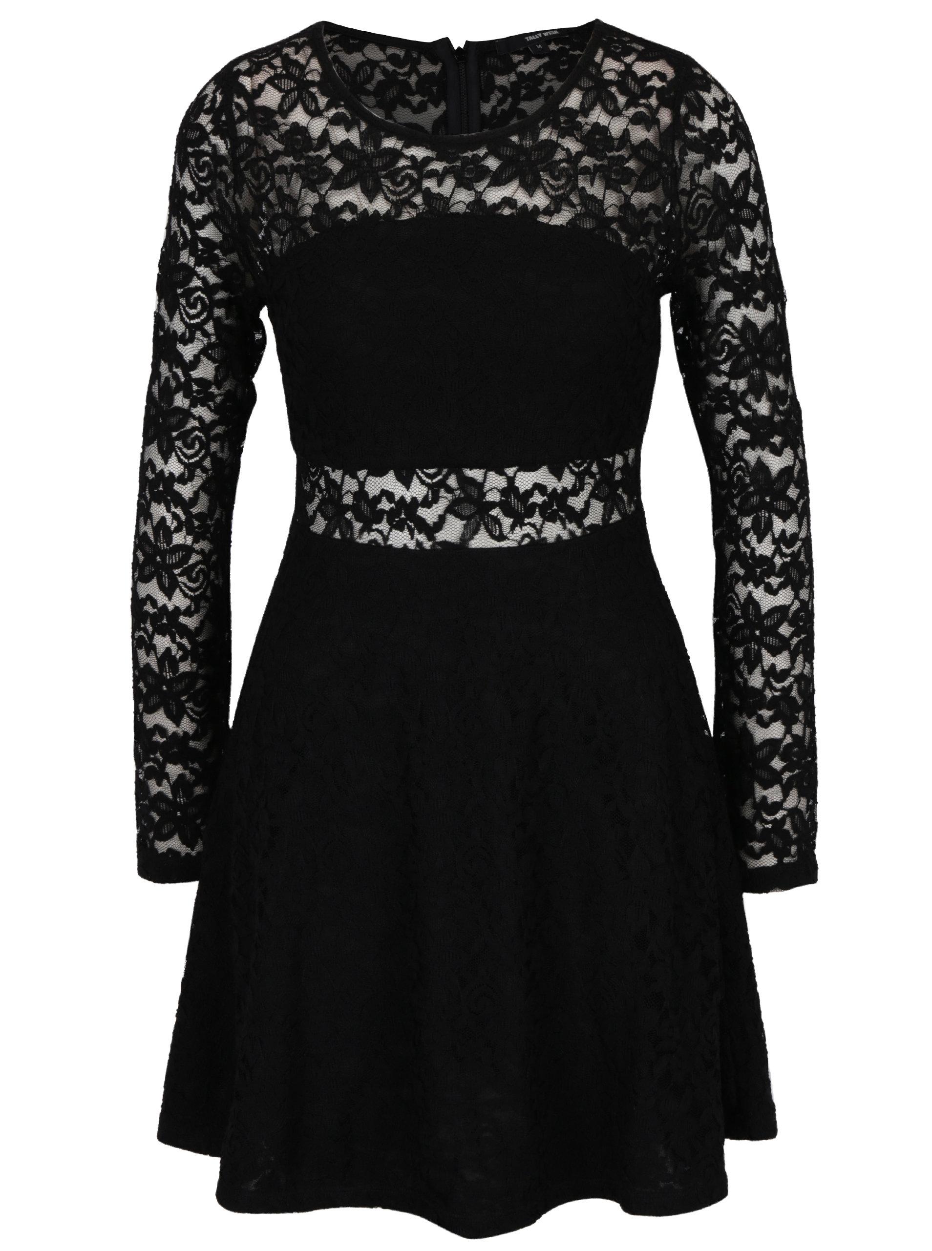 Černé krajkové šaty s dlouhým rukávem TALLY WEiJL ... be04841de8