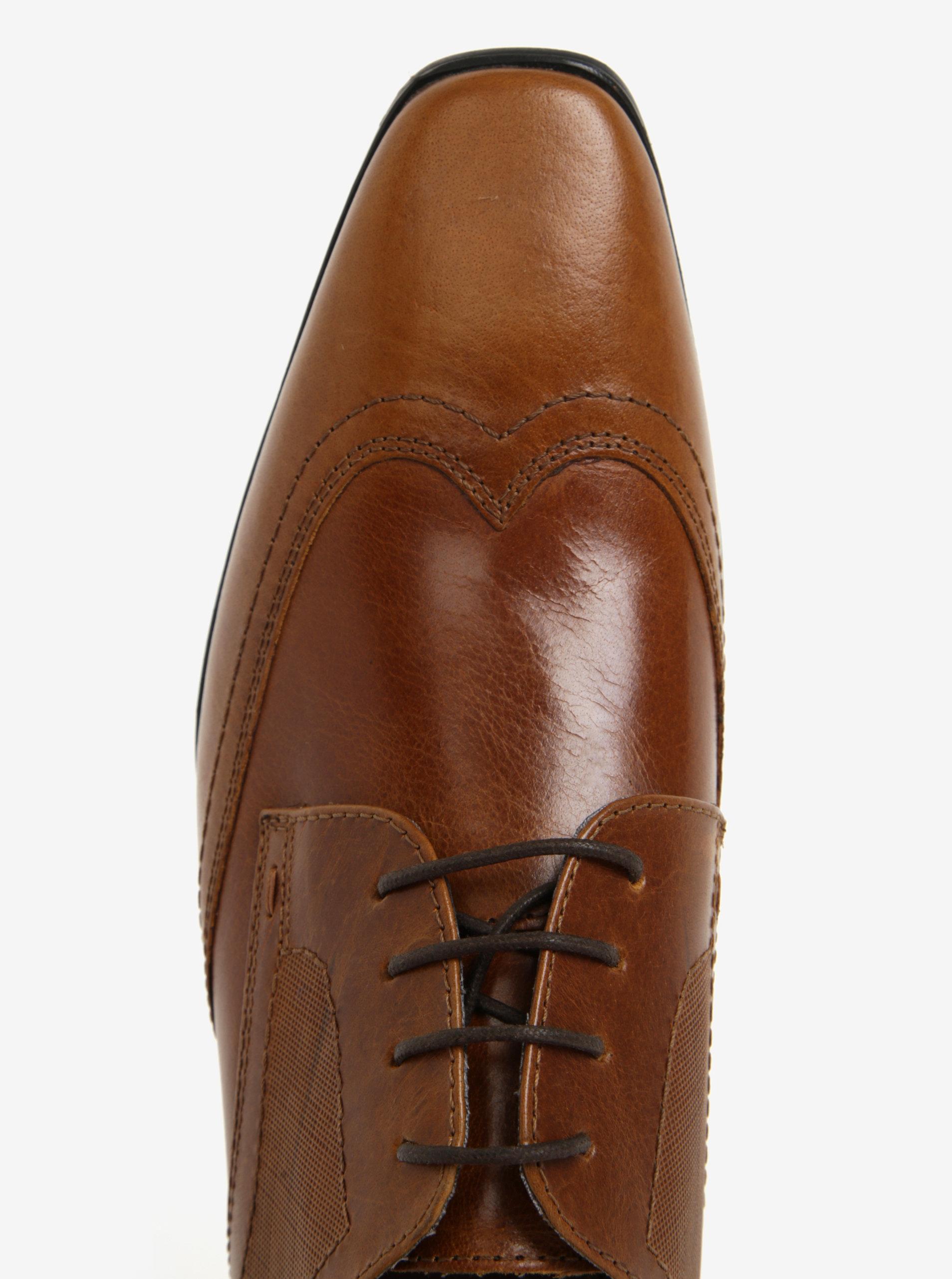 342f0f256c Hnedé pánske kožené poltopánky Burton Menswear London ...