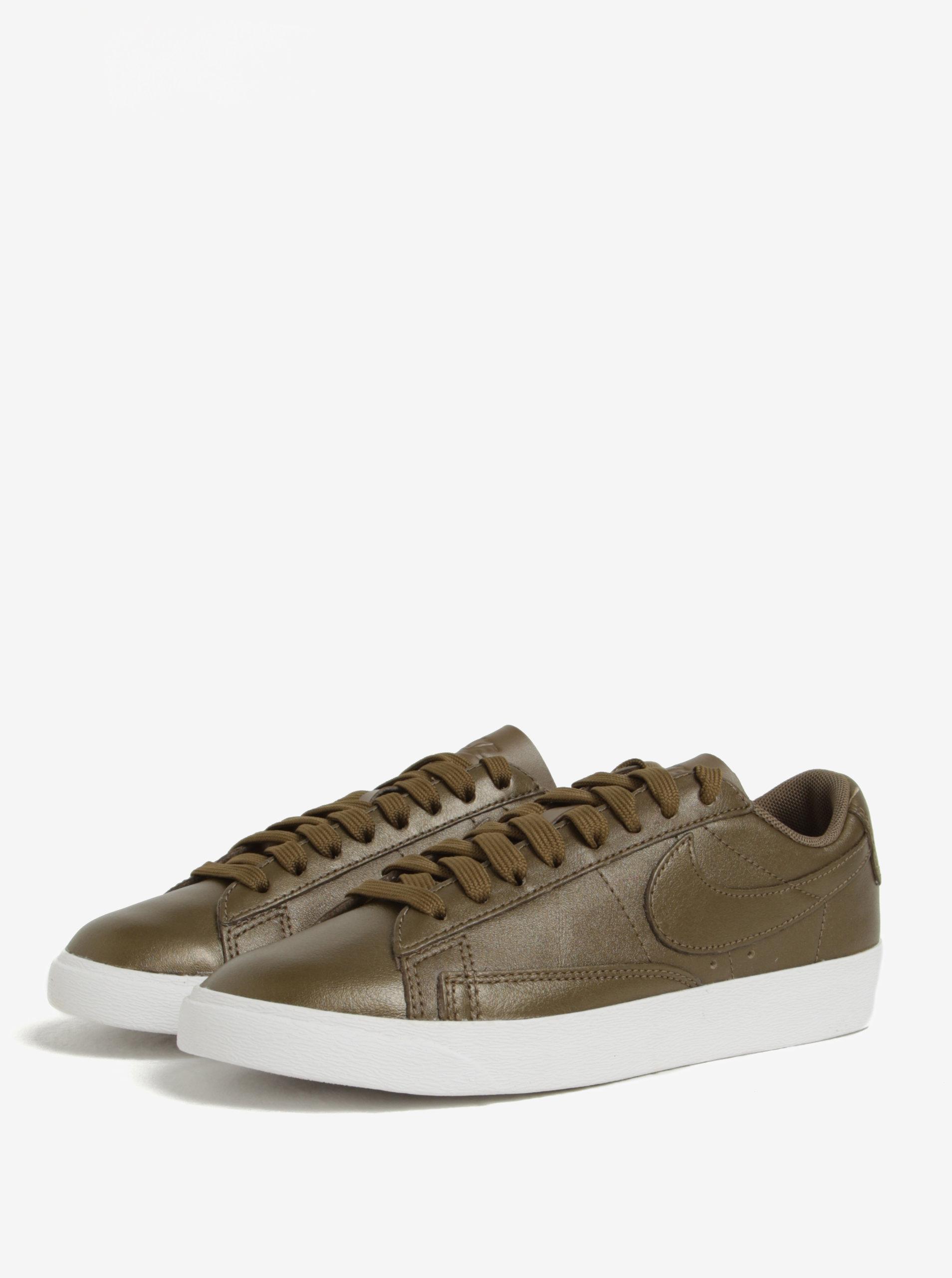 Kaki dámske kožené tenisky Nike Blazer Low ... c75fc83dfd