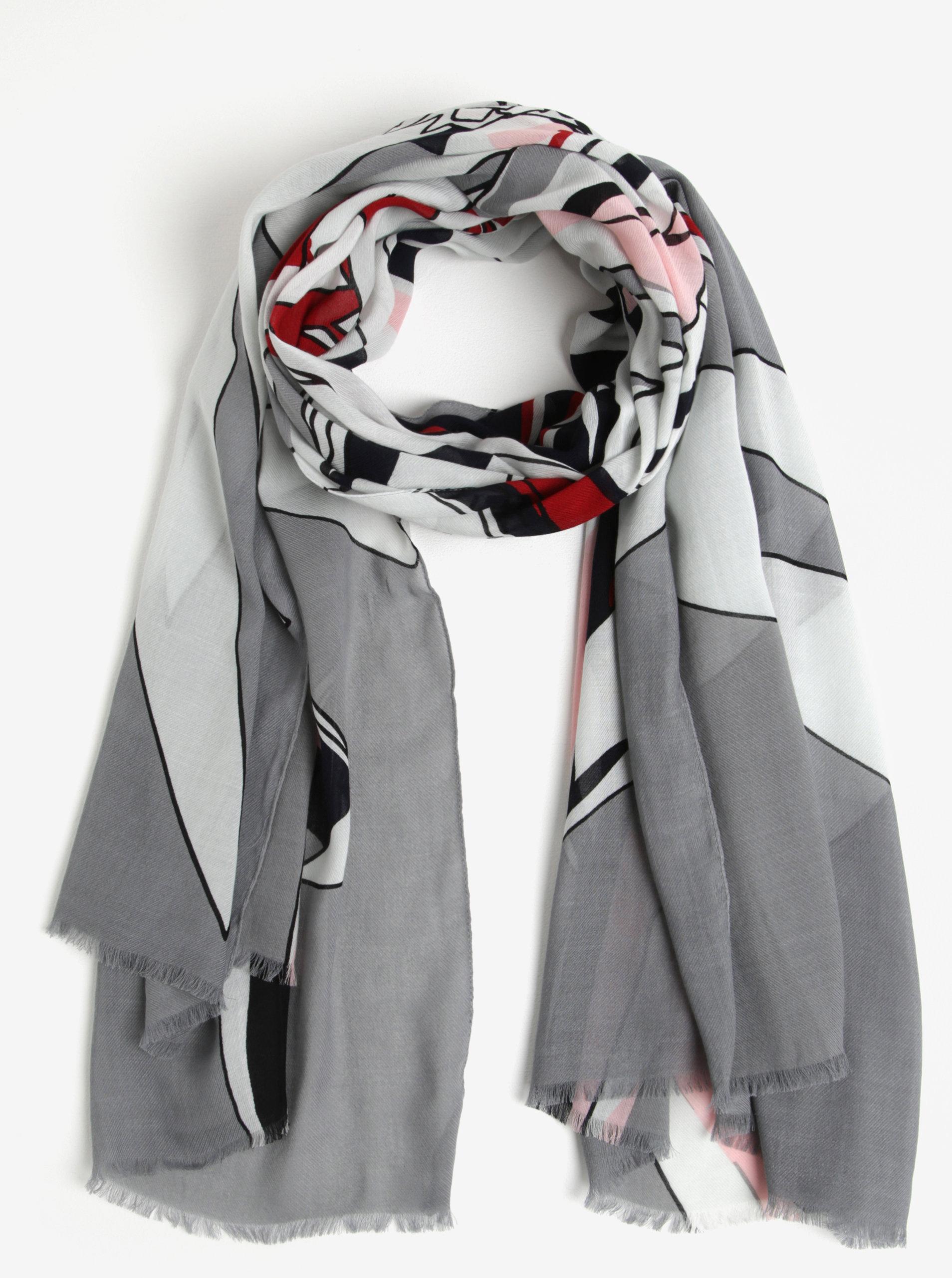 63fd06c3ad5 Šedý dámský šátek se vzorem Tommy Hilfiger Flower ...