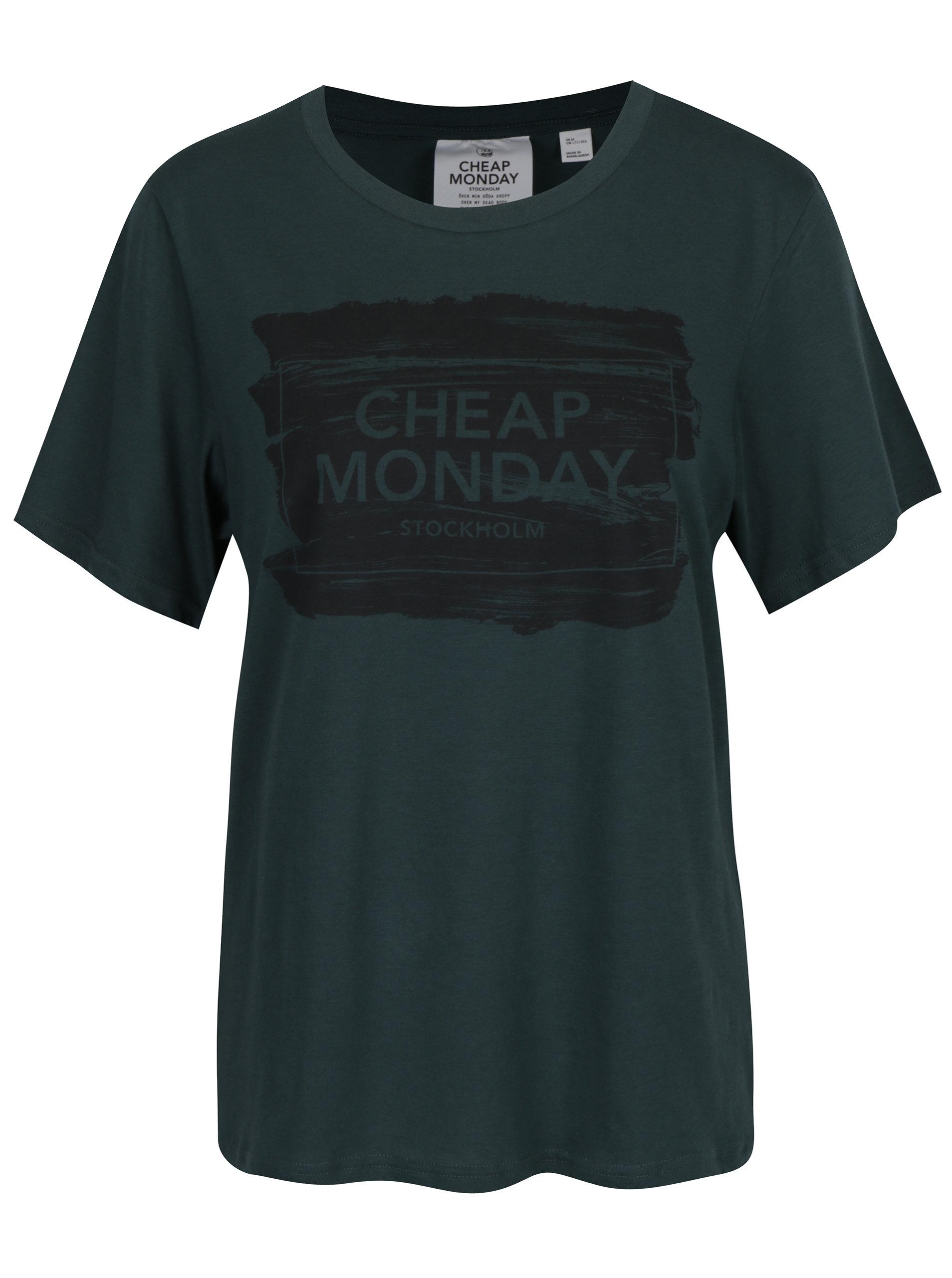 6926fe15a44 Tmavě zelené dámské tričko s potiskem Cheap Monday ...