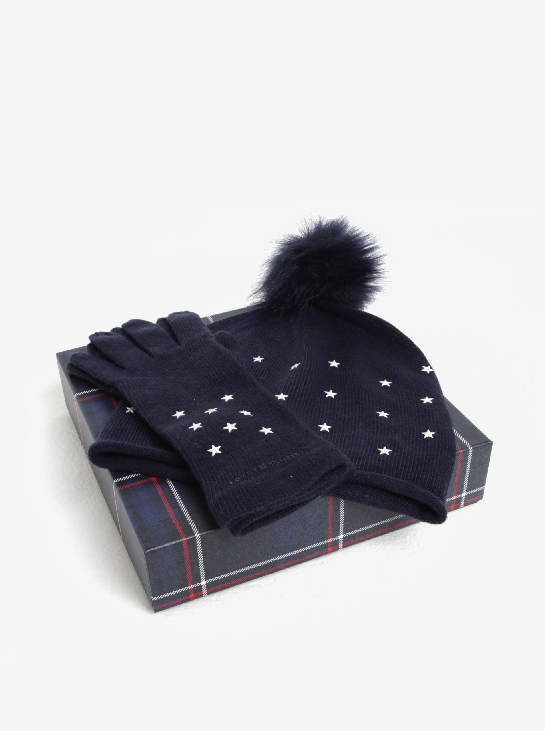 Súprava dámskej čiapky a rukavíc v tmavomodrej farbe v darčekovej škatuľke Tommy  Hilfiger ... 7c621ed432c