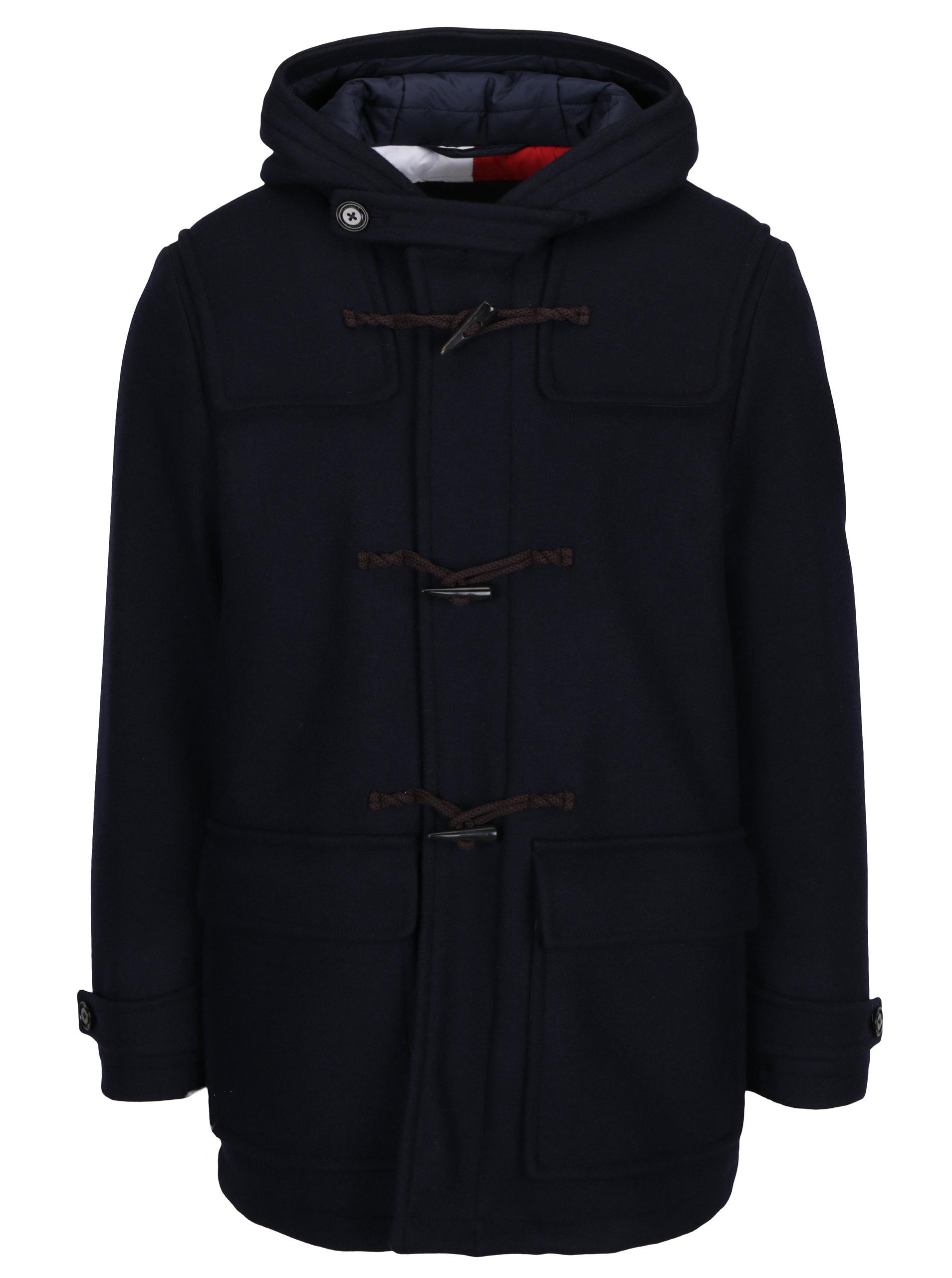 Tmavě modrý pánský zimní vlněný kabát Tommy Hilfiger Jersey ... 5e57b05c22
