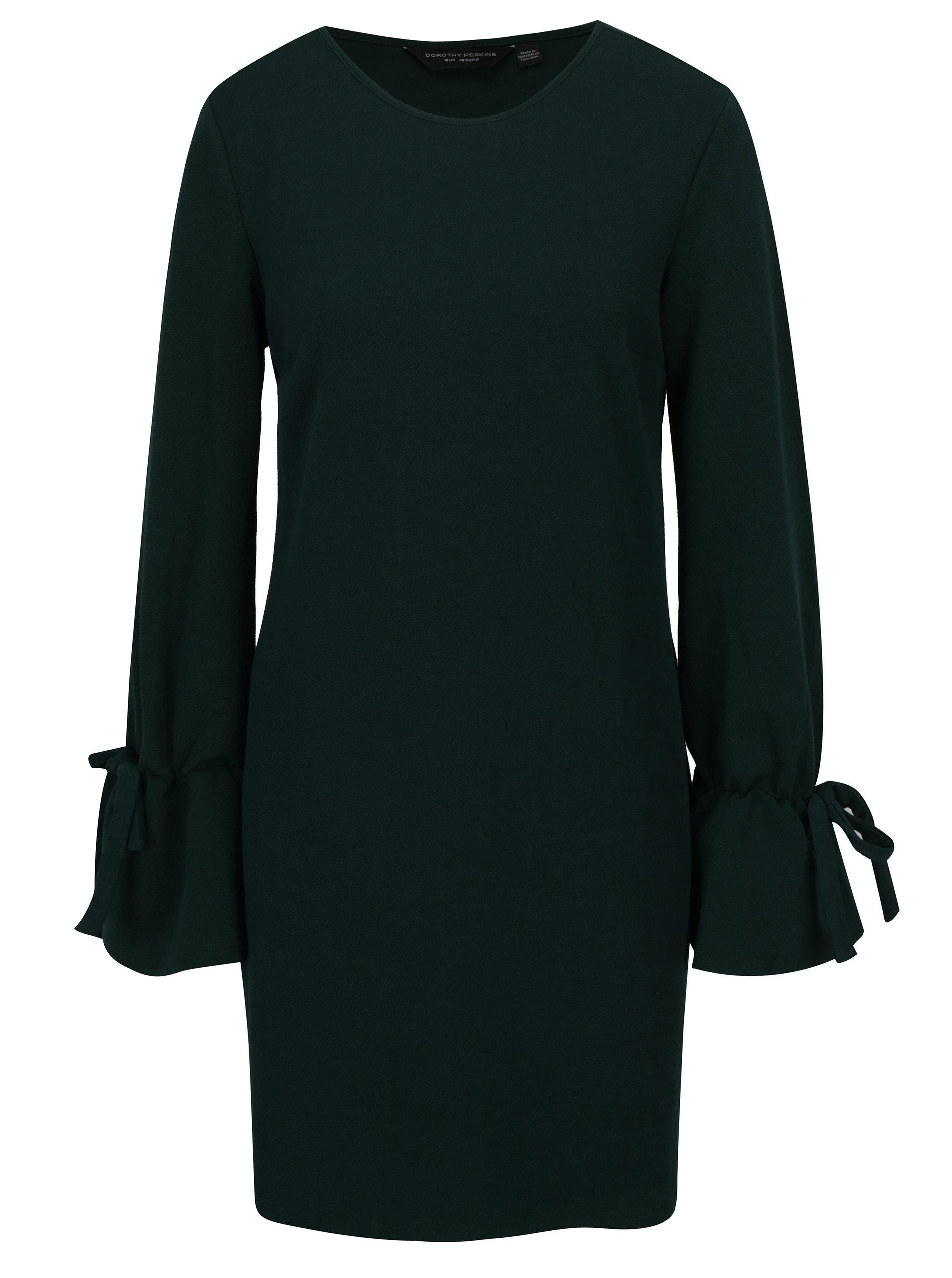 Tmavozelené šaty so zvonovými rukávy Dorothy Perkins ... 04a1598c4b0