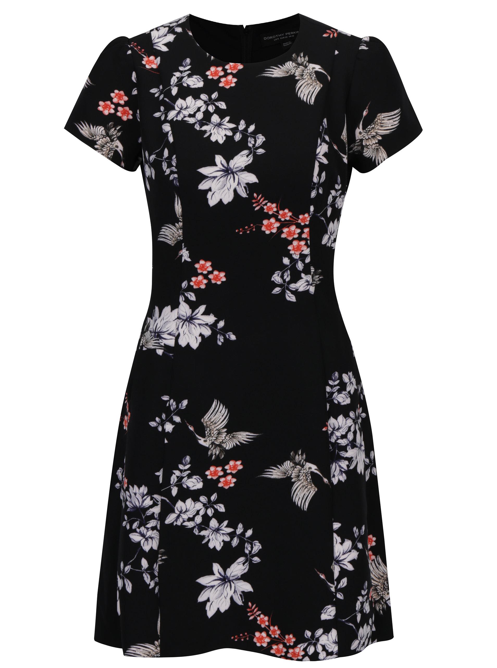 176196fbf30a Čierne kvetované šaty s krátkym rukávom Dorothy Perkins ...