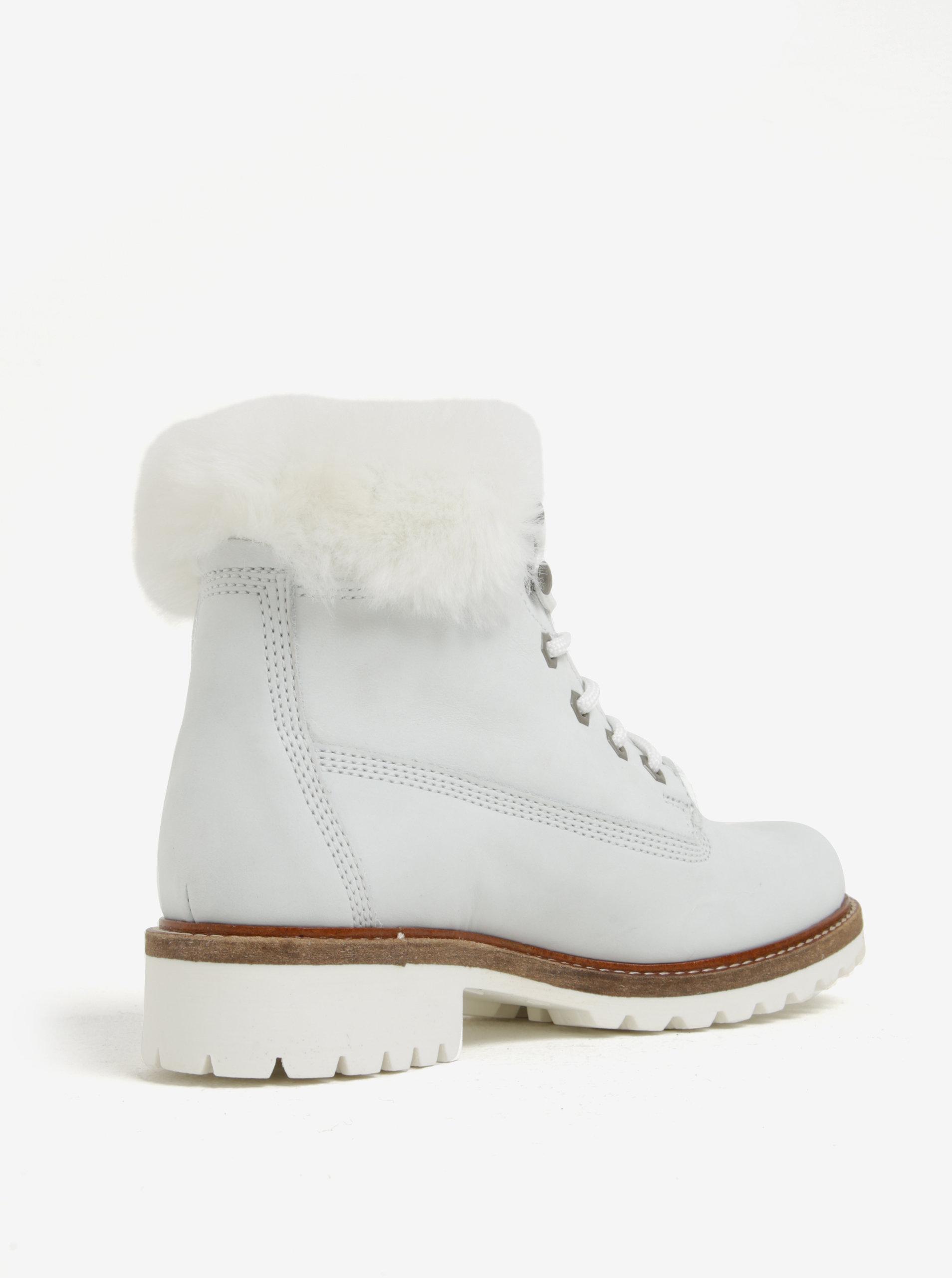 ac690fca1564 Biele vodovzdorné zimné členkové kožené topánky s vlnenou podšívkou Tamaris  ...