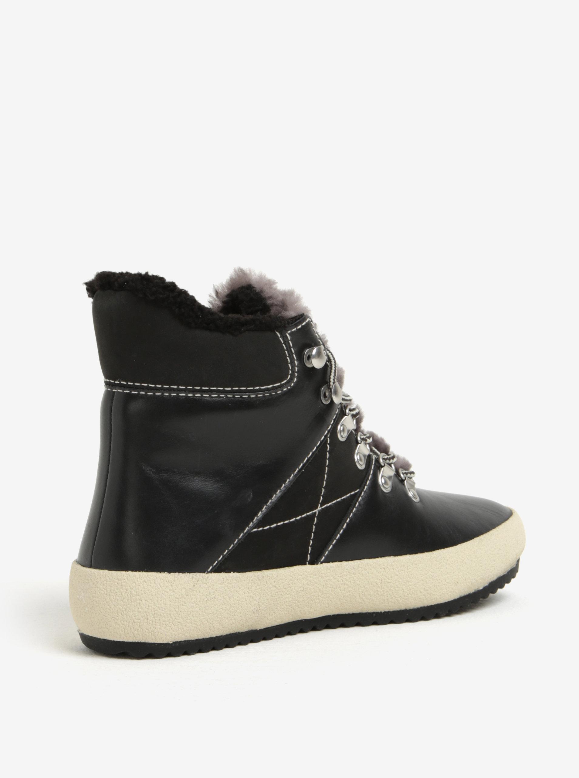 Černé dámské kožené zateplené kotníkové boty GANT Amy ... 22e7a3cc0ec