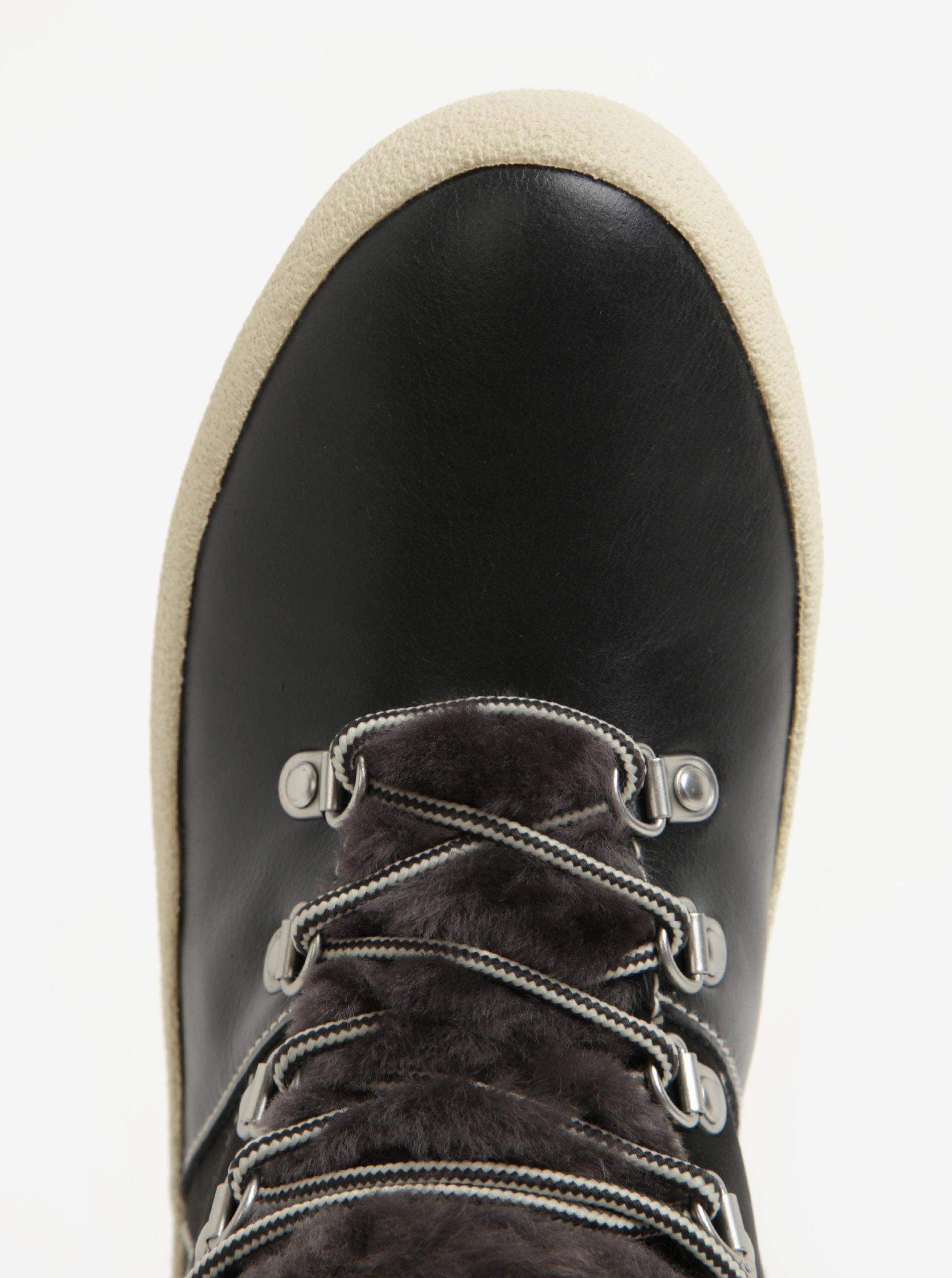 7796a13dde2f Čierne dámske kožené zateplené členkové topánky GANT Amy ...