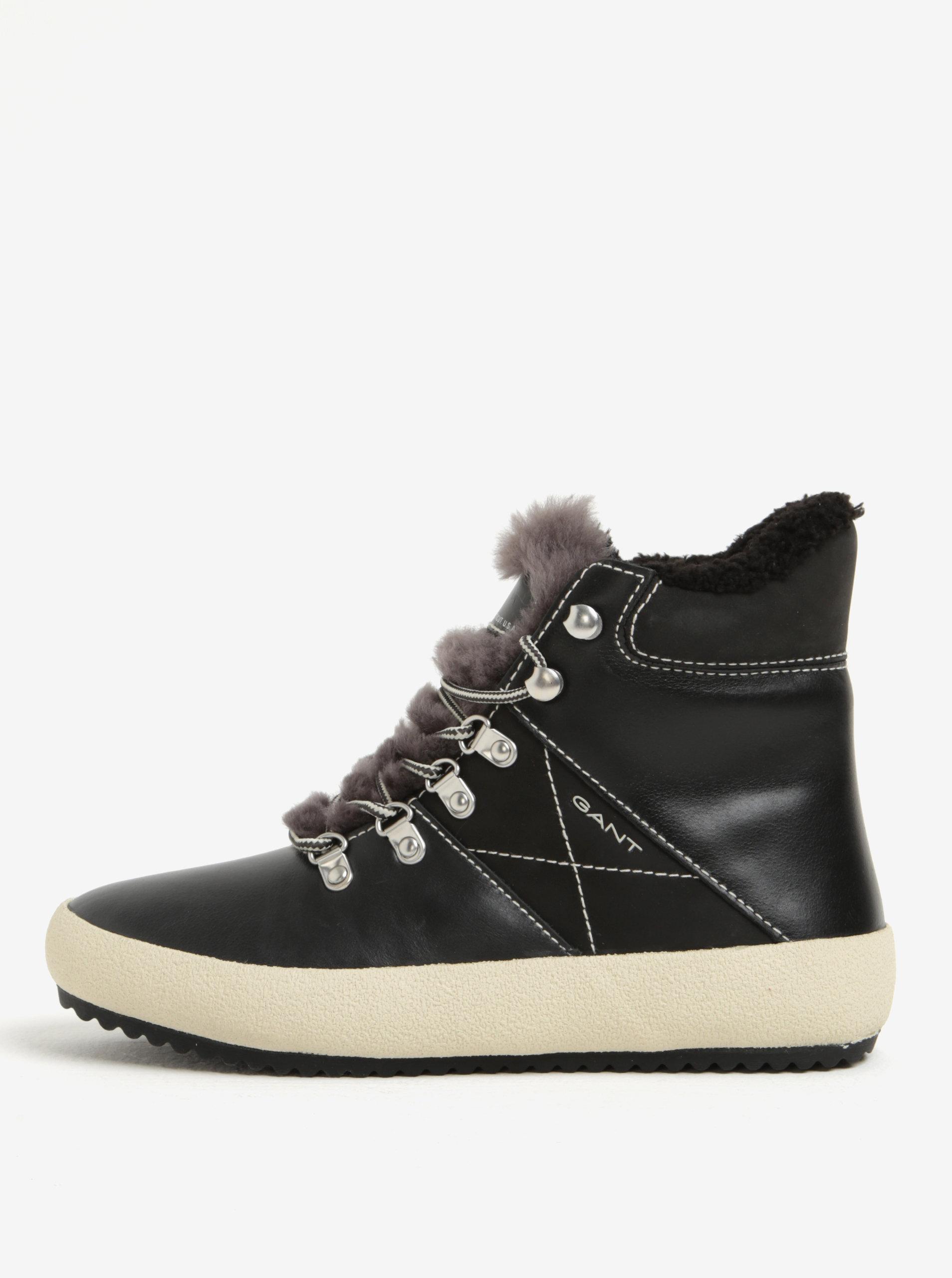 9032c810f6 Čierne dámske kožené zateplené členkové topánky GANT Amy ...