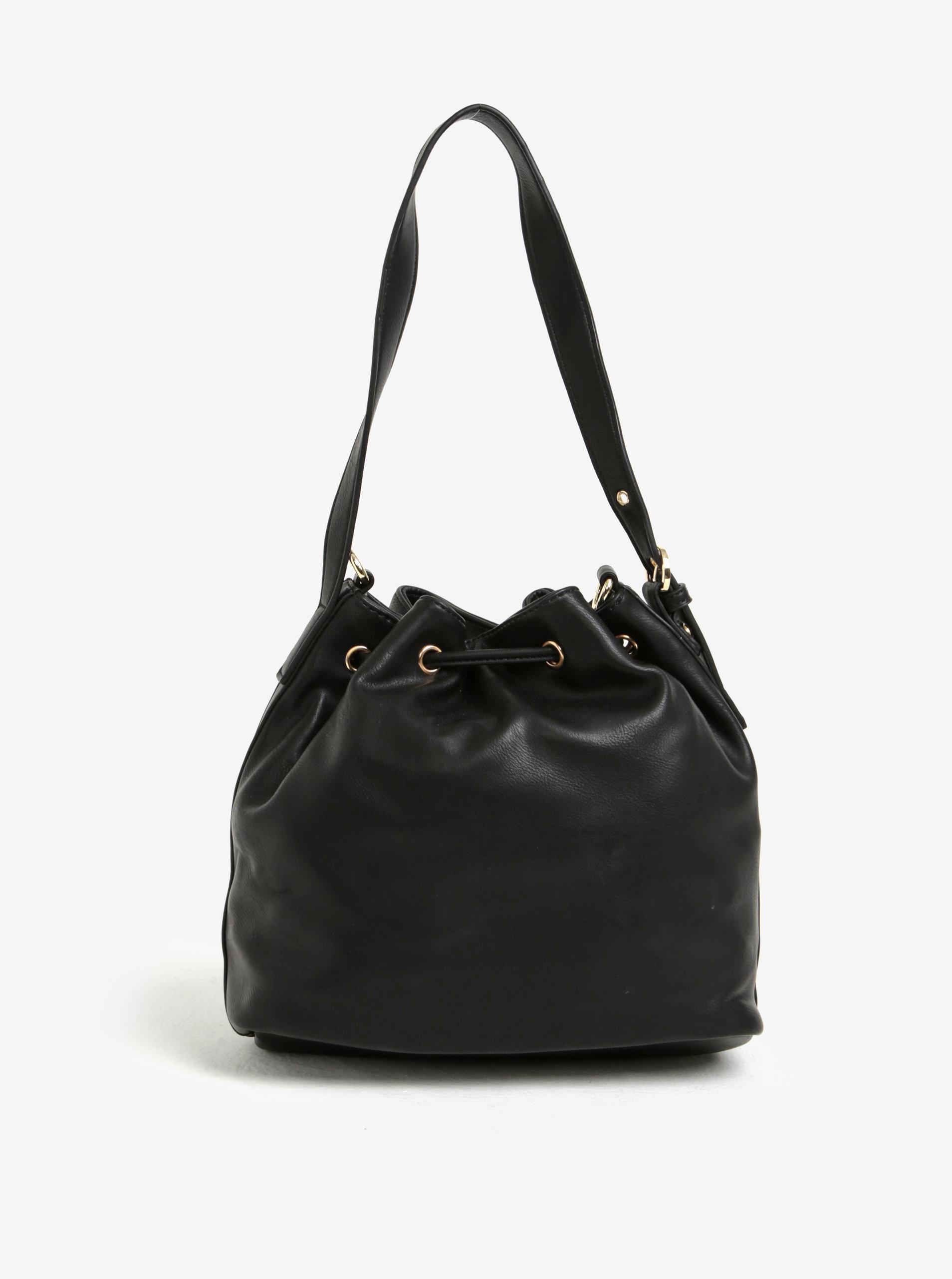 Čierna vaková kabelka s detailmi v zlatej farbe Bessie London ... b104b8ce6b2