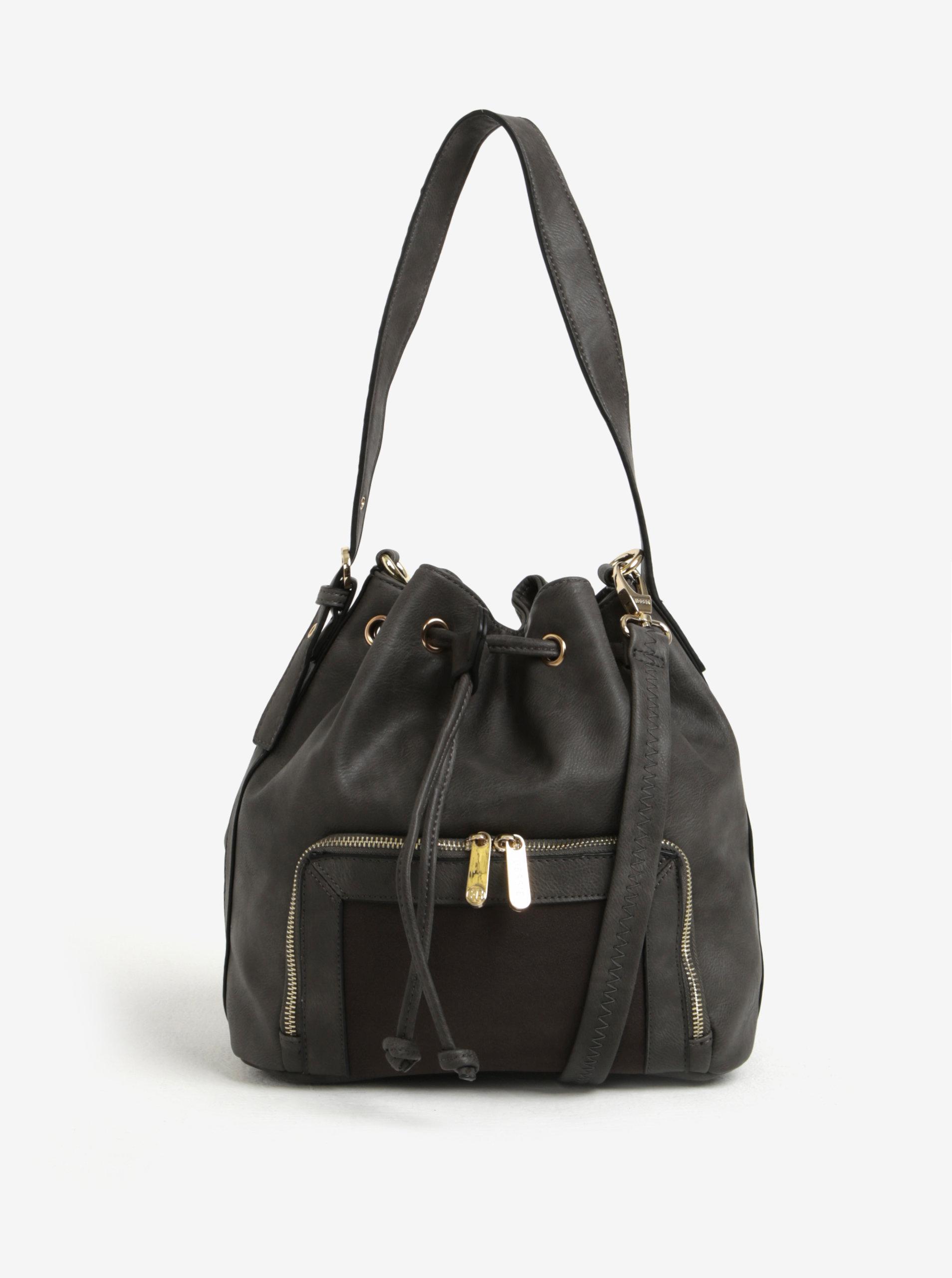 Tmavě šedá vaková kabelka s detaily ve zlaté barvě Bessie London