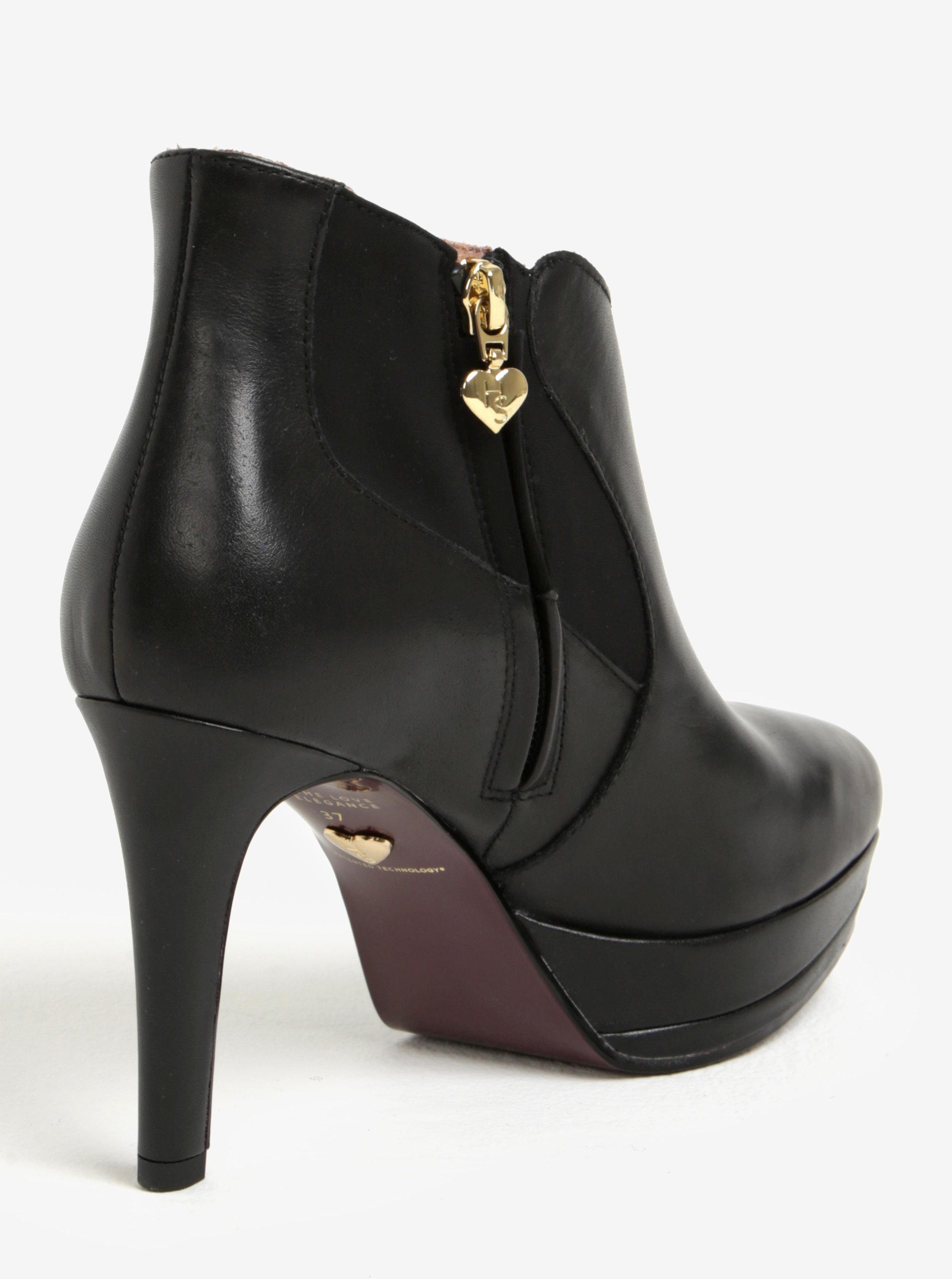 966eb589b1 Čierne kožené členkové topánky na vysokom podpätku Tamaris ...