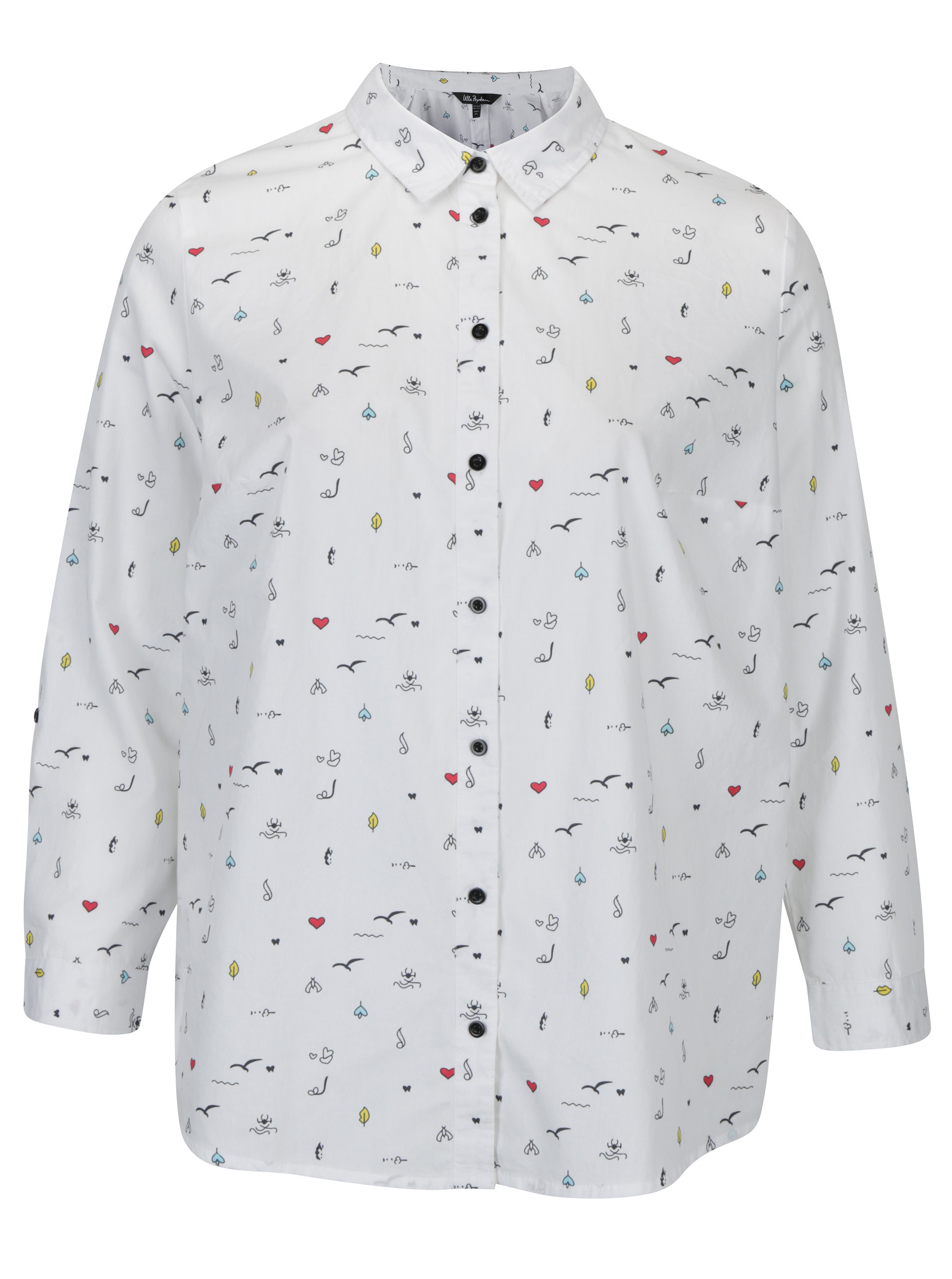 Bílá košile s drobným vzorem Ulla Popken ... 5f1b6cf2b9