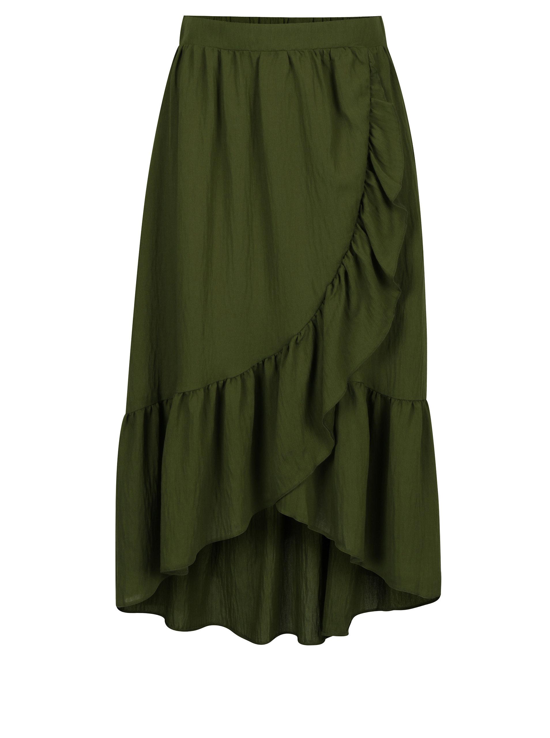 87287f524799 Zelená midi sukně s volány VILA Dama ...