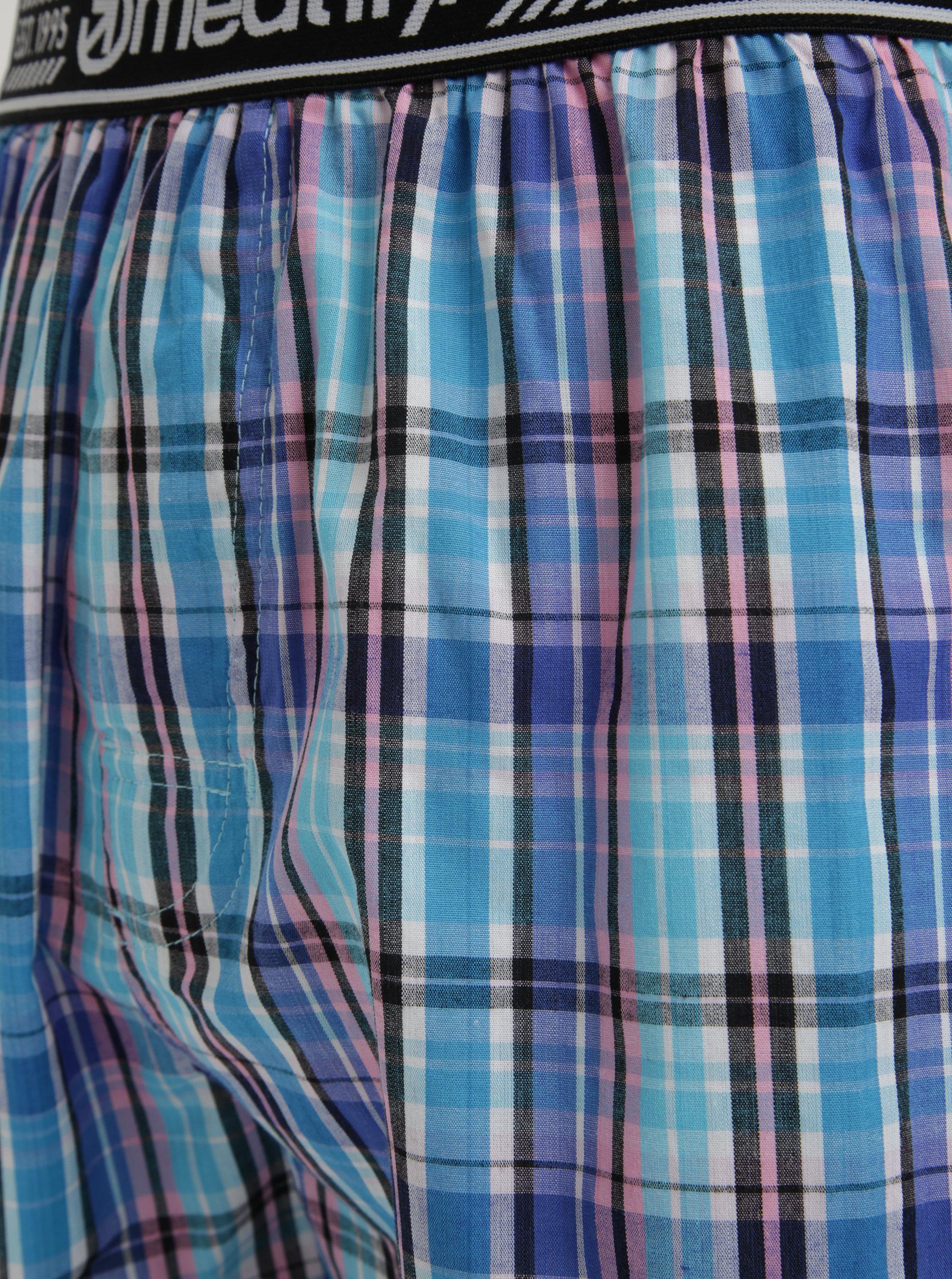 Světle modré pánské kostkované trenýrky MEATFLY Bandit ... 849eeff436
