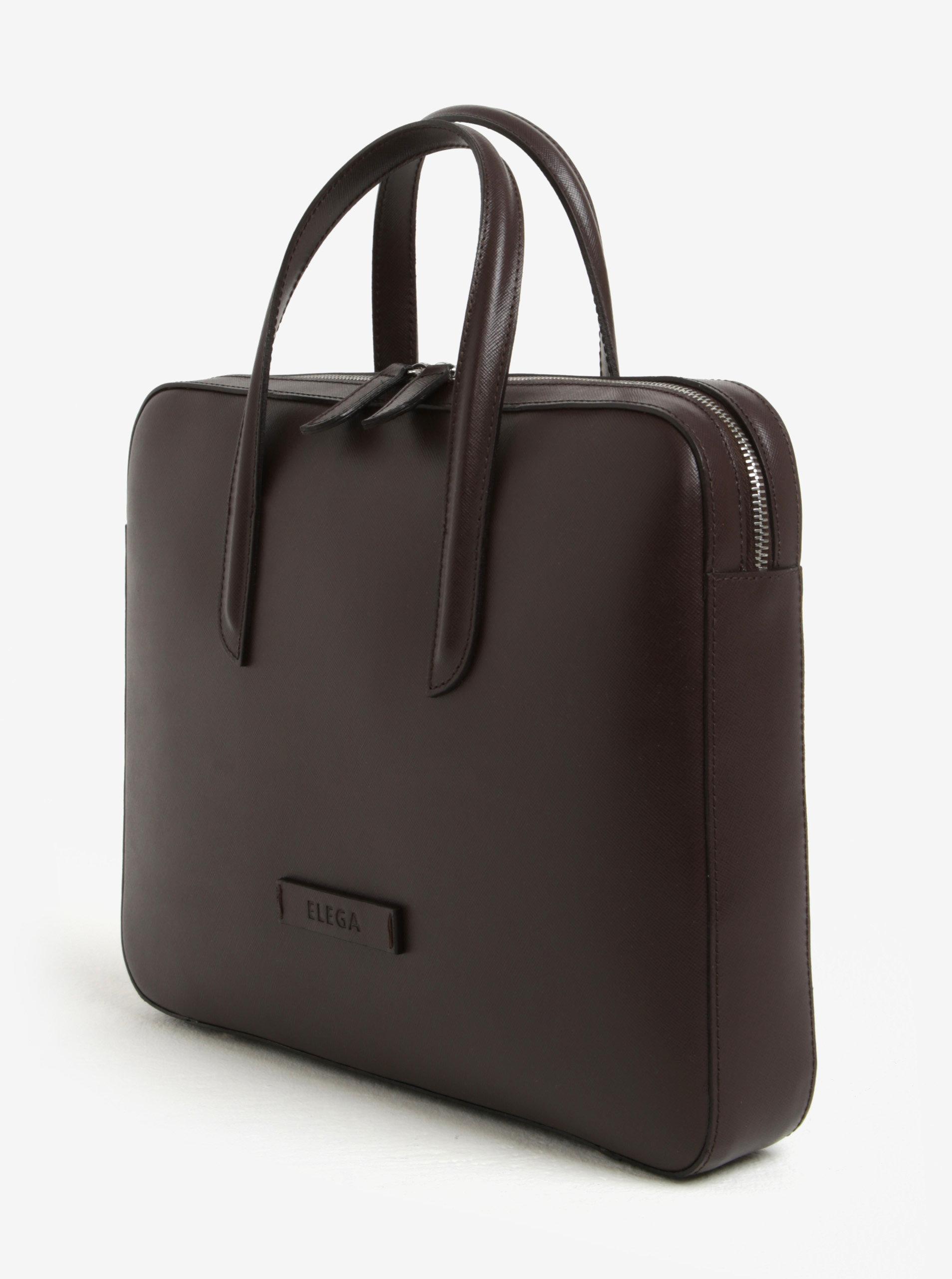 Tmavě hnědá dámská kožená taška na notebook ELEGA Lester ... 96190c4115