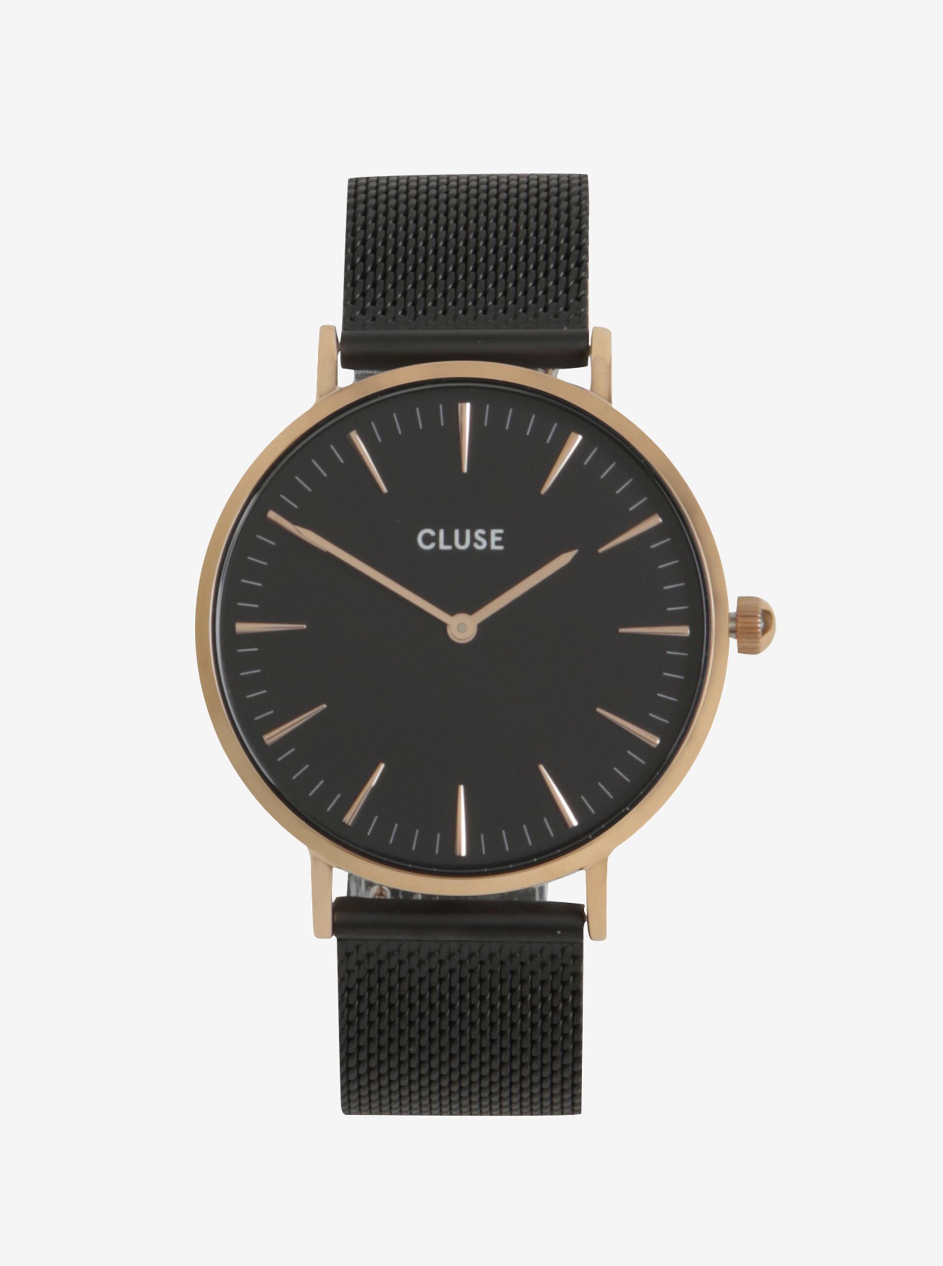 Dámské hodinky ve zlaté barvě s černým páskem CLUSE ... 50096e59a4