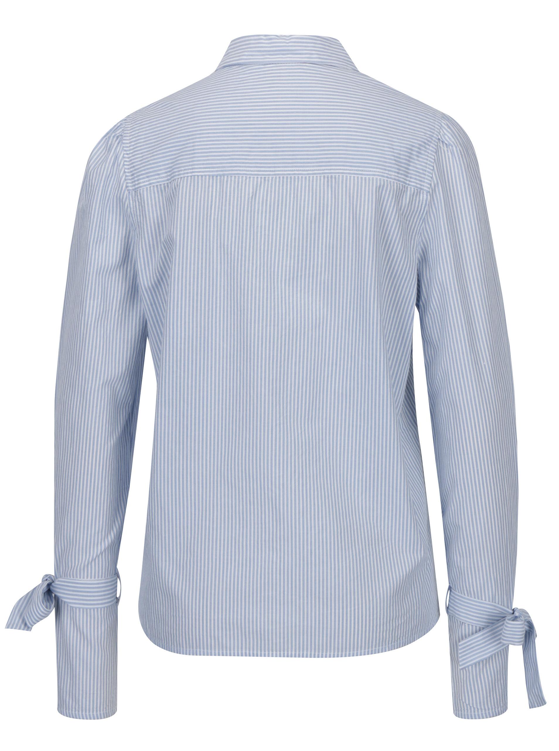 56f95f57c4d7 Modro-biela pruhovaná košeľa so zaväzovaním na rukávoch VERO MODA Juljane  ...