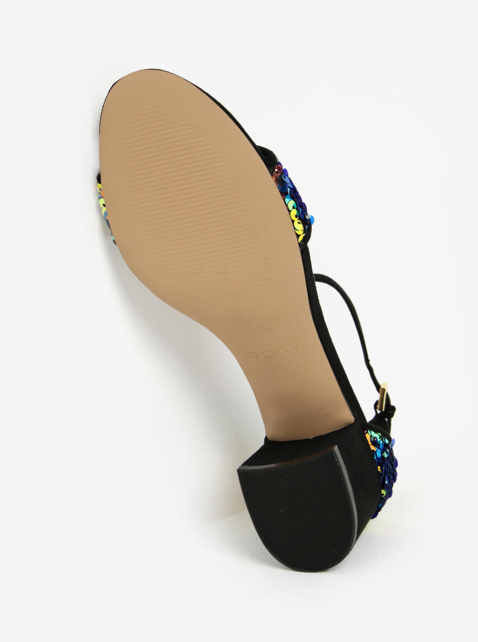 a253ff429190b Čierne sandálky na podpätku s flitrami ALDO Victoria | ZOOT.sk