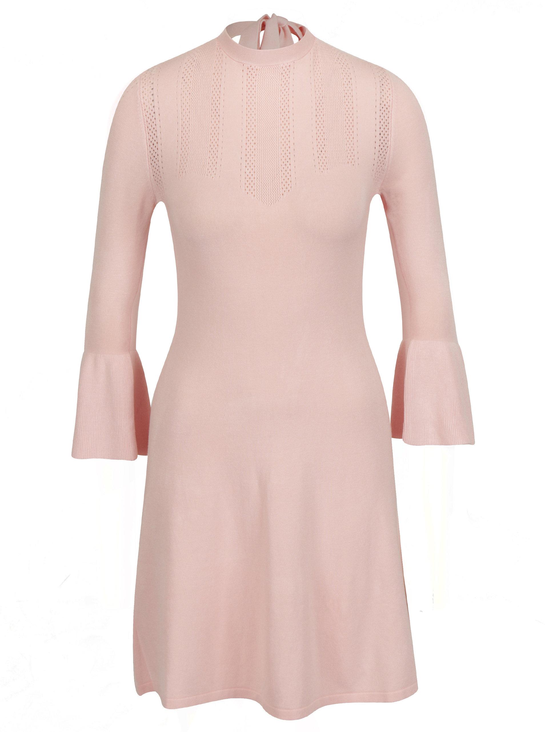 aaa9a3897cb3 Světle růžové svetrové šaty s volány Miss Selfridge ...
