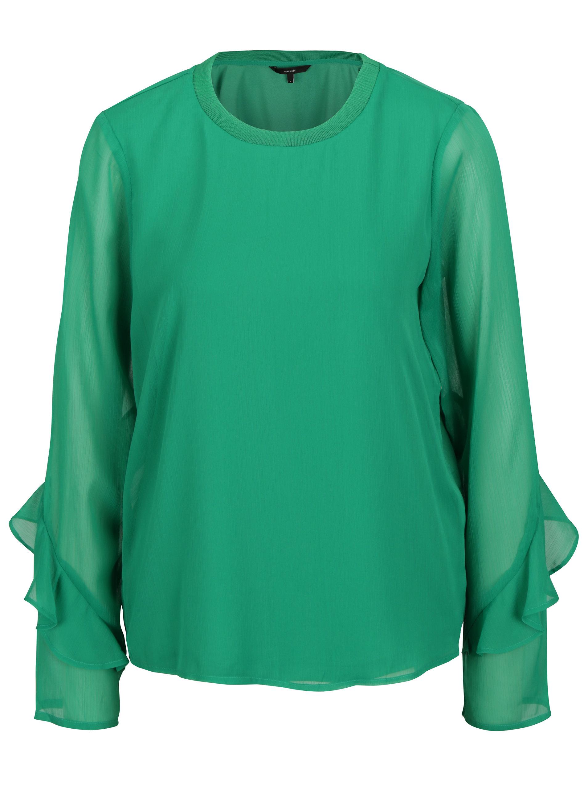 6267f0848c27 Zelená blúzka s priesvitnými rukávmi VERO MODA Ava ...