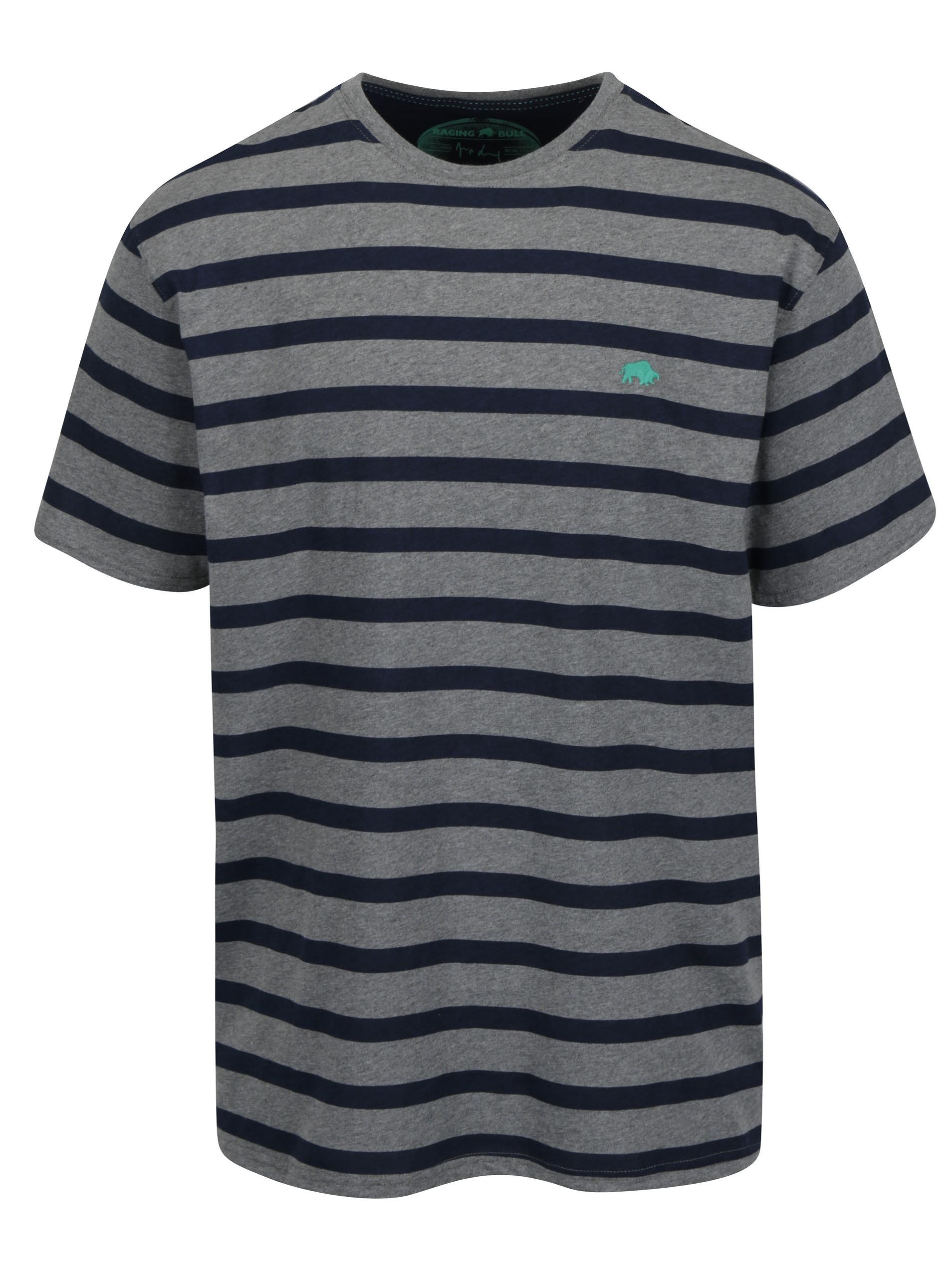 d1fdb41fe2d8 Modro-sivé pruhované tričko s výšivkou loga Raging Bull ...