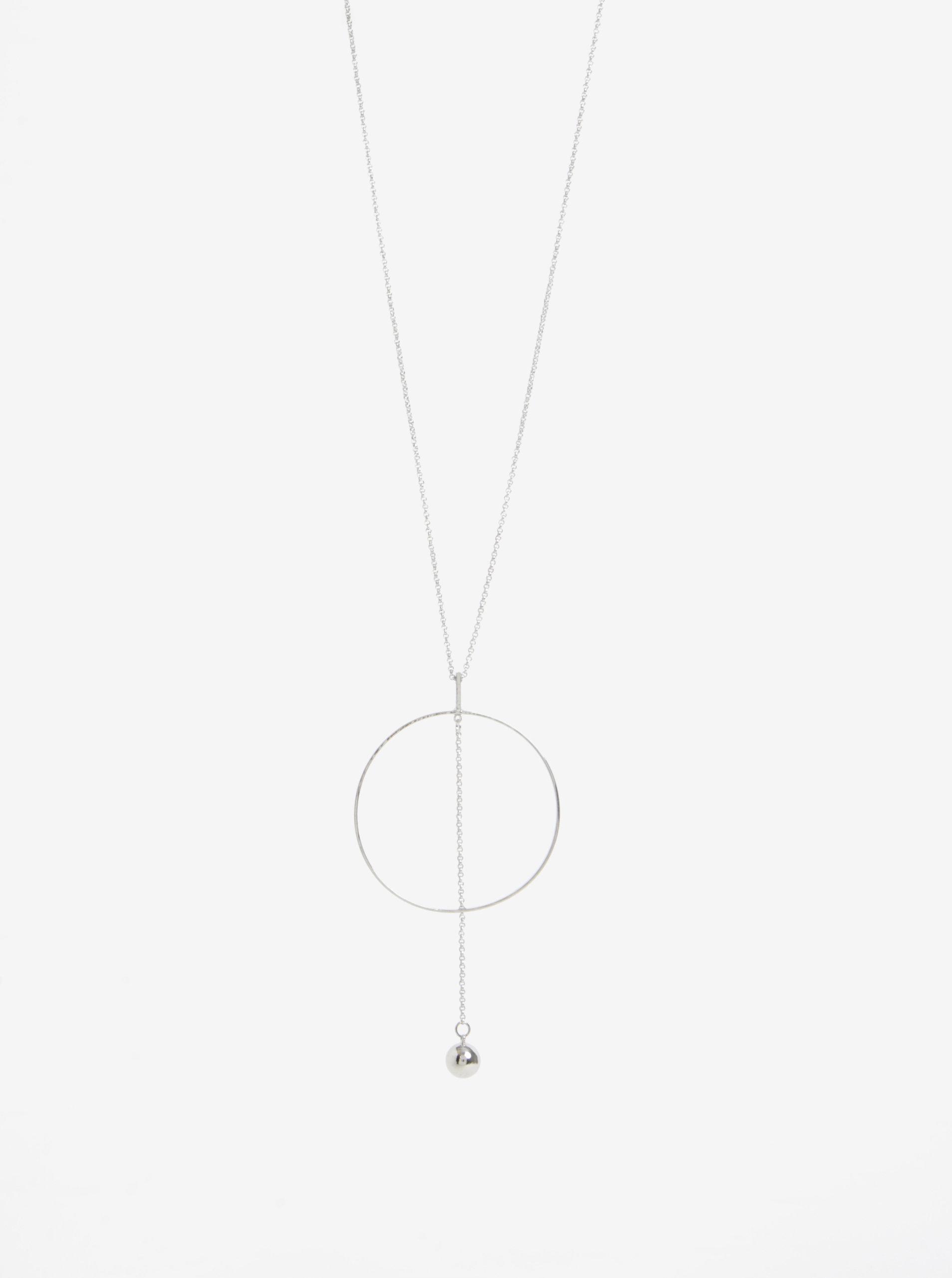 Řetízek s přívěškem kruhu ve stříbrné barvě Pieces Angala