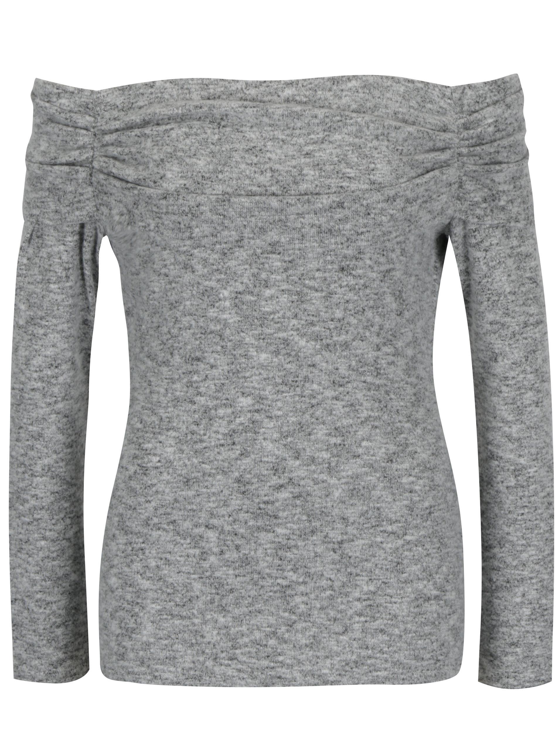 Šedý žíhaný svetr s odhalenými rameny Dorothy Perkins ... e0904a47af