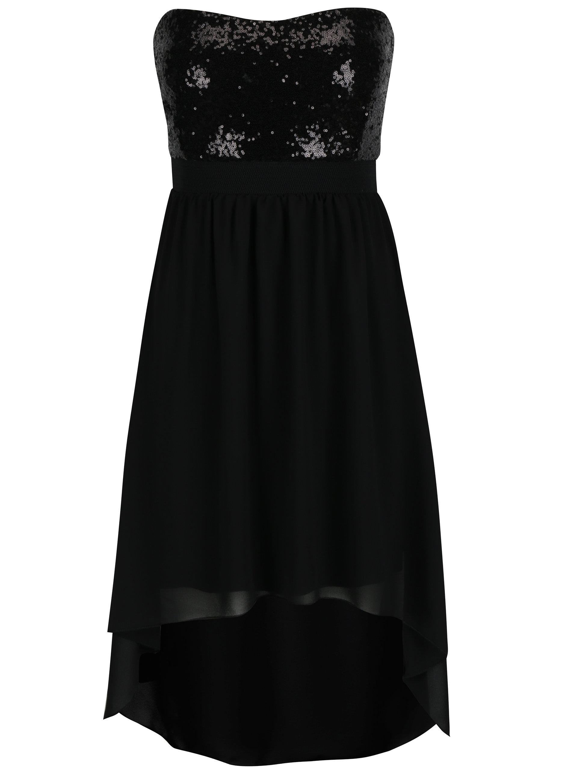 866f803bf659 Čierne šaty s flitrovaným topom bez ramienok Haily´s Gloria ...